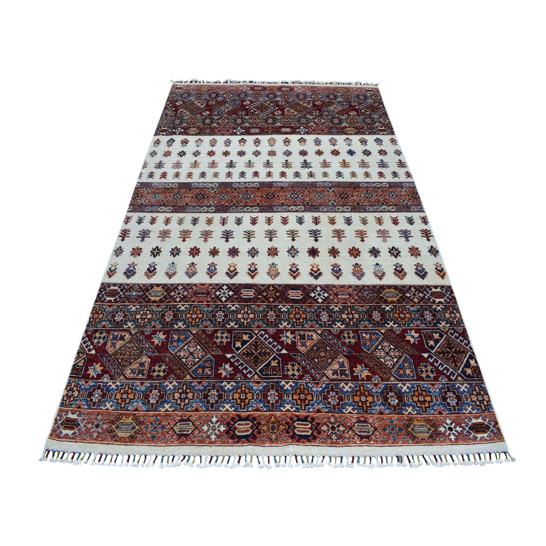 "5'7""X8'4"" Ivory Khorjin Design Super Kazak Geometric Hand Knotted Pure Wool Oriental Rug moaeb76d"