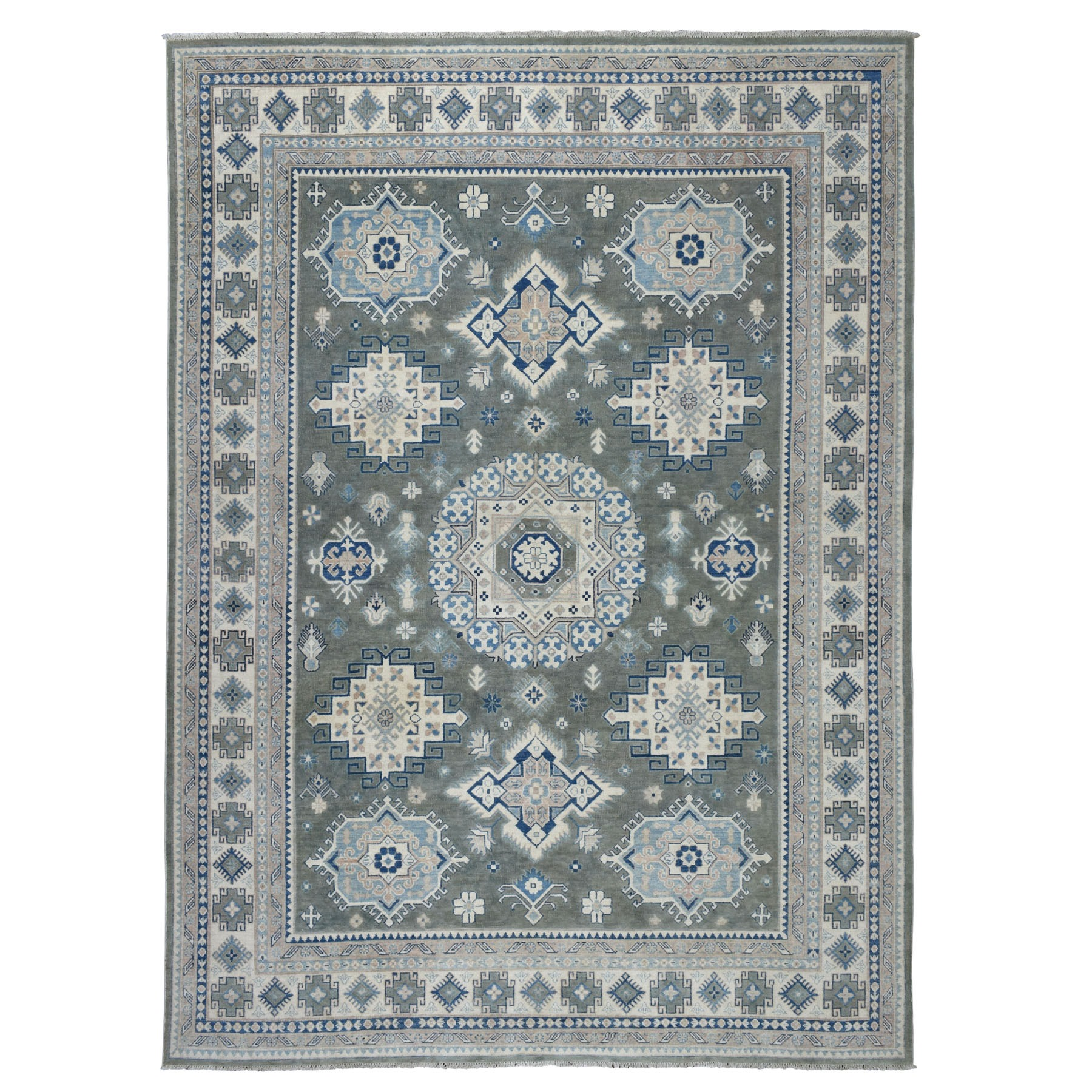 "8'9""X12'4"" Gray Vintage Look Kazak Tribal Design 100% Wool Hand Knotted Oriental Rug moaeb769"