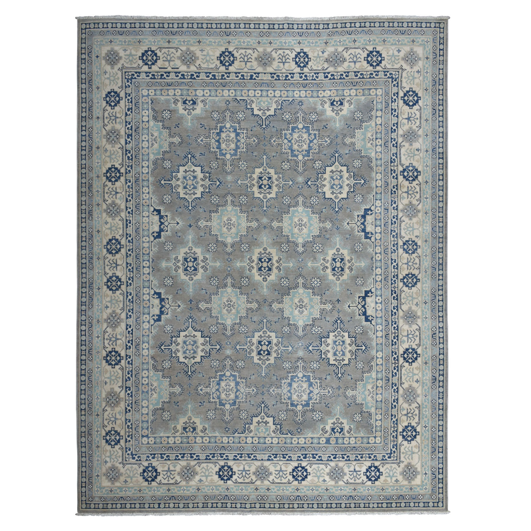"8'7""X11'8"" Gray Vintage Look Kazak Tribal Design 100% Wool Hand Knotted Oriental Rug moaeb77a"