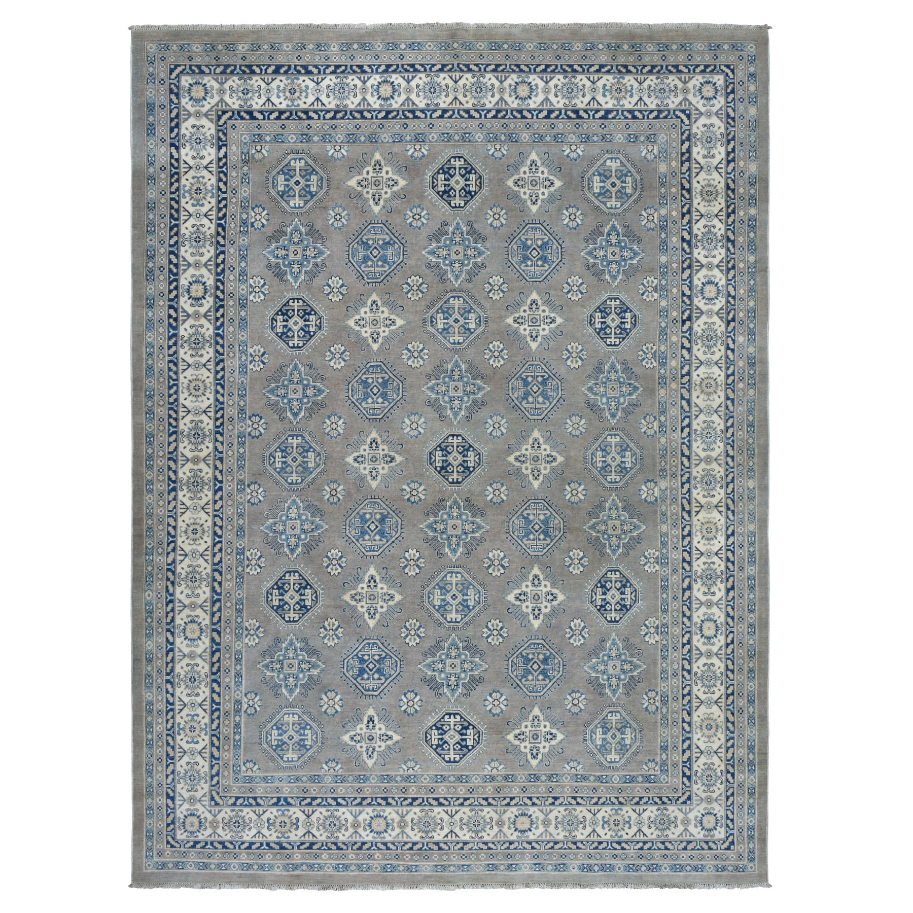 "8'8""X11'8"" Gray Vintage Look Kazak Geometric Design 100% Wool Hand Knotted Oriental Rug moaeb77d"