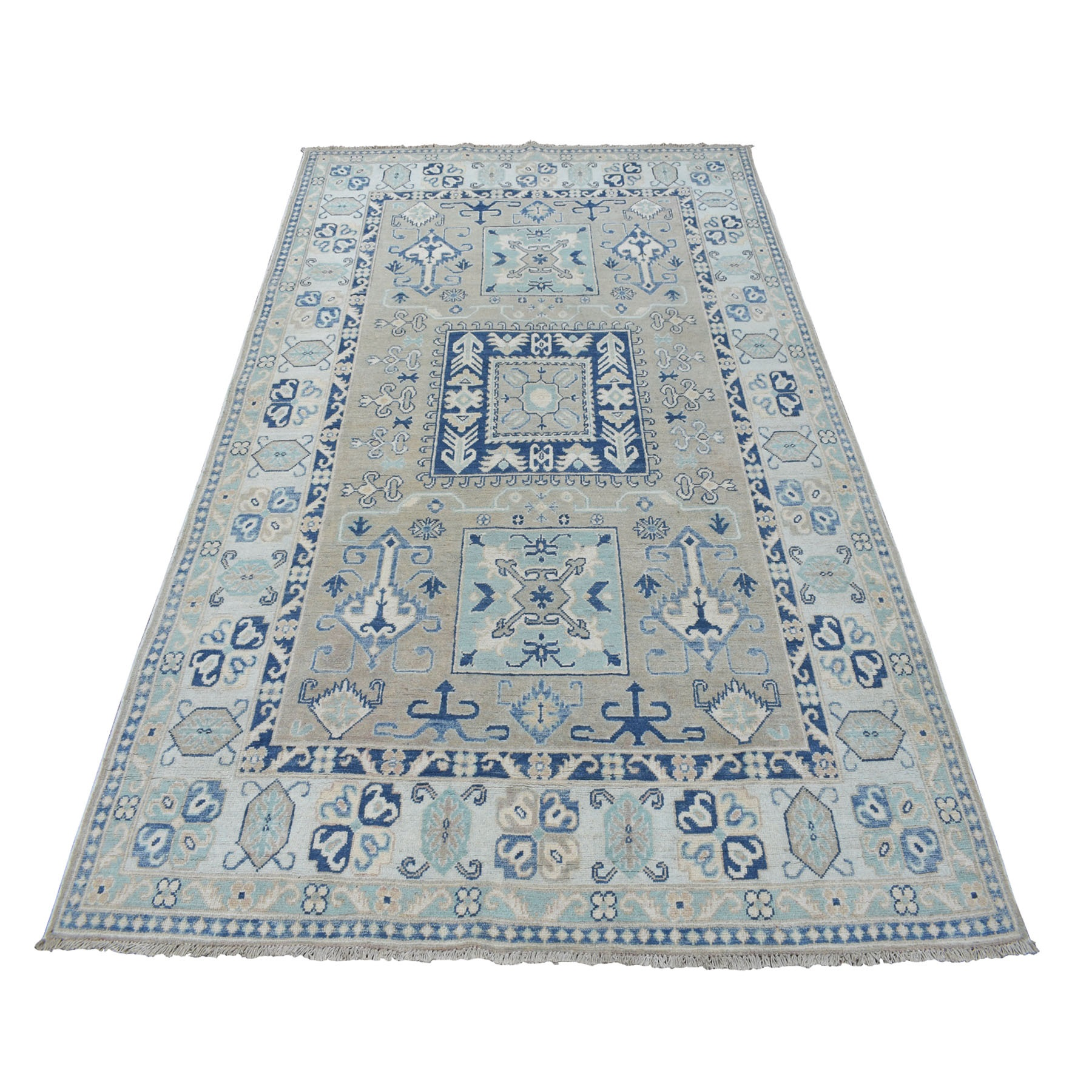 "5'4""X8' Gray Vintage Look Kazak Geometric Design 100% Wool Hand Knotted Oriental Rug moaeb776"