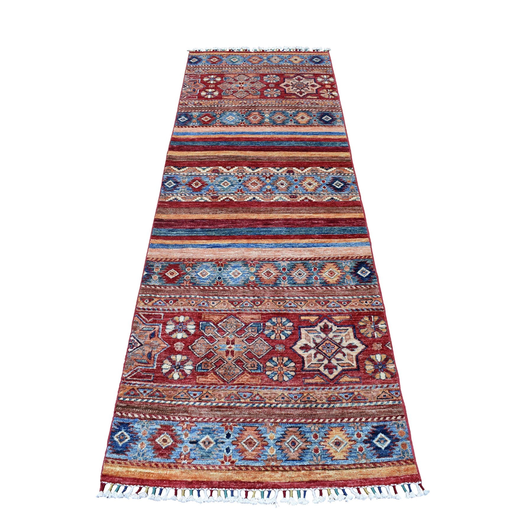 "2'9""X8' Khorjin Design Runner Red Super Kazak Geometric Hand Knotted 100% Wool Oriental Rug moaeb777"