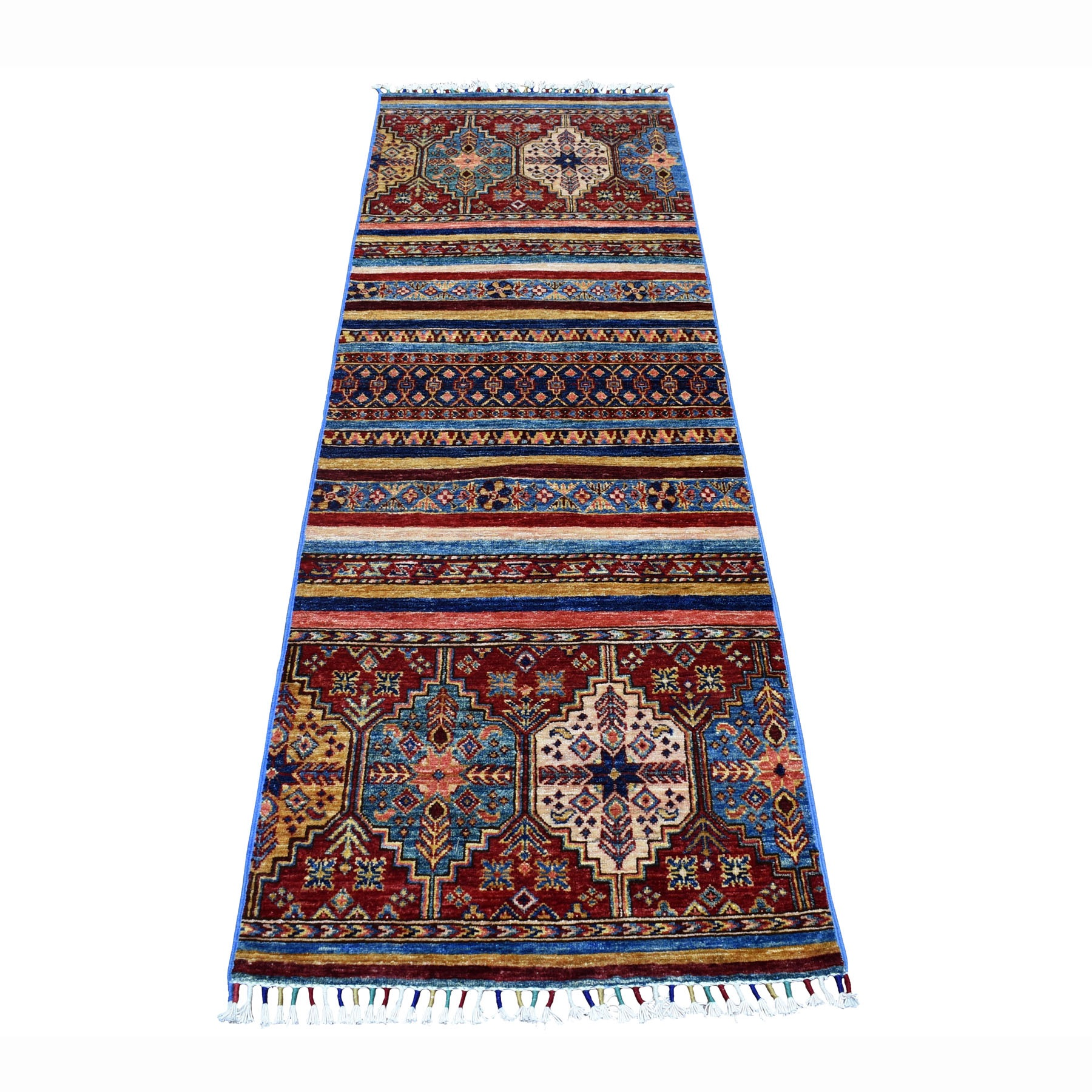 "2'4""X7' Khorjin Design Runner Blue Super Kazak Geometric Hand Knotted 100% Wool Oriental Rug moaeb778"