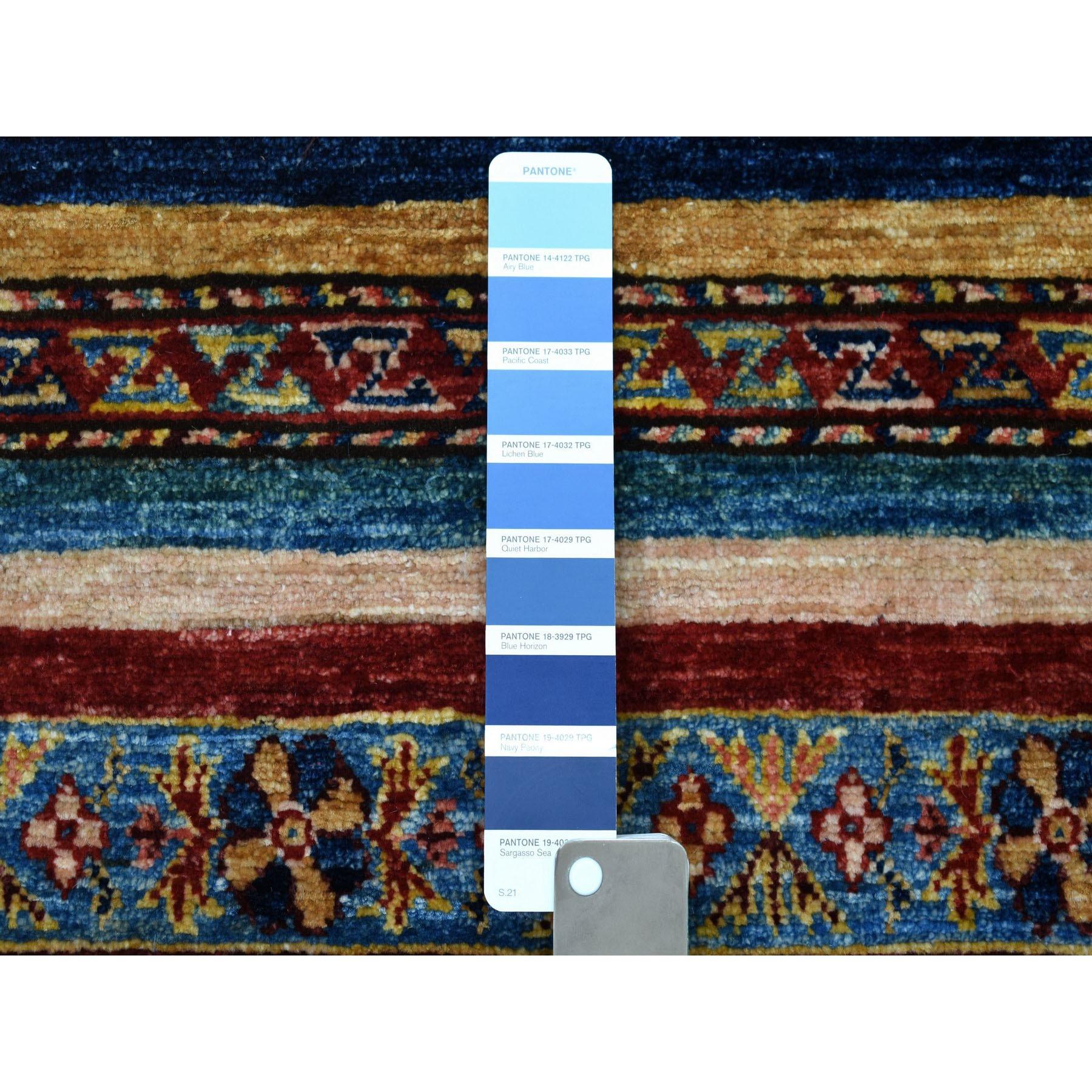 2-4 x7- Khorjin Design Runner Blue Super Kazak Geometric Hand Knotted 100% Wool Oriental Rug