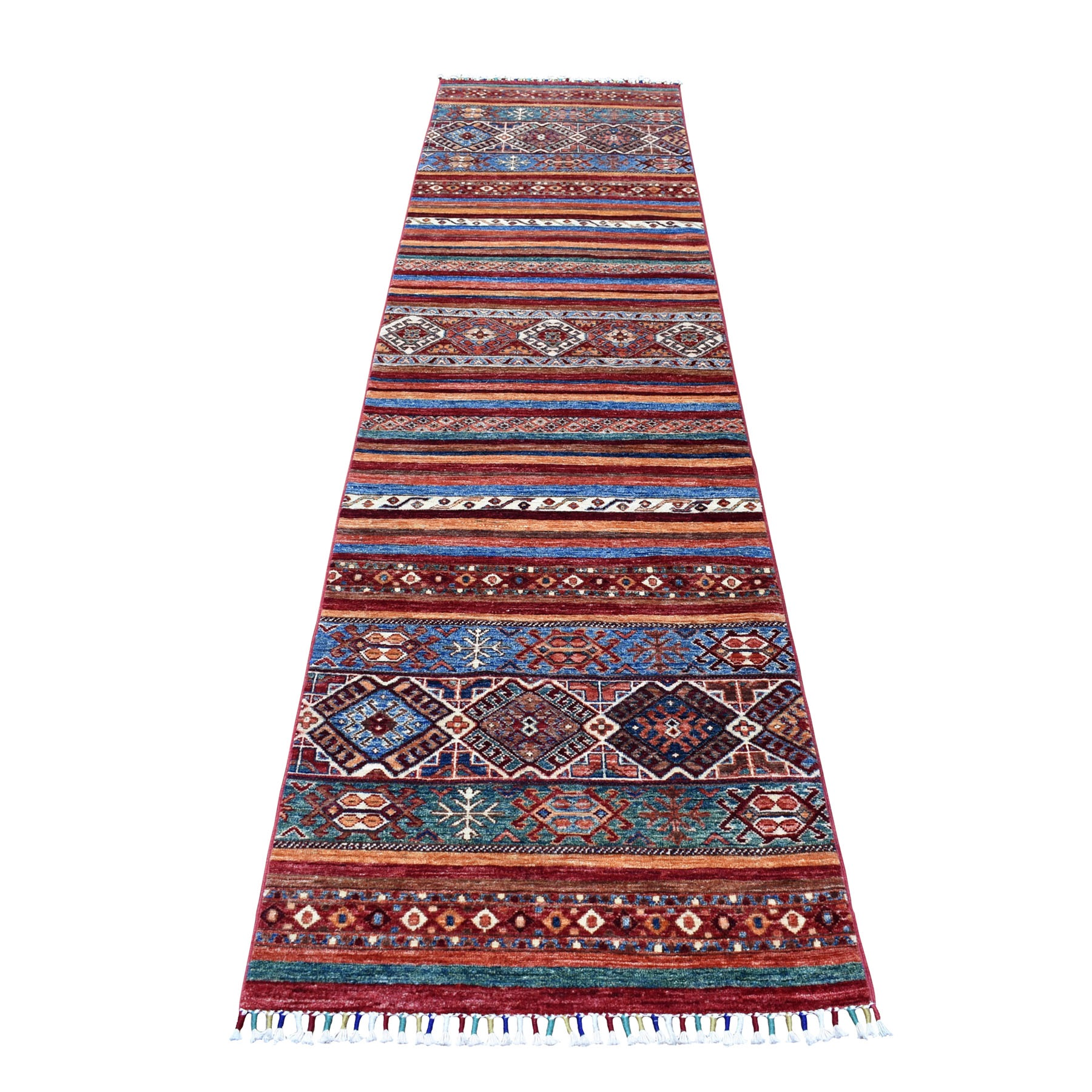"2'6""X10'3"" Khorjin Design Runner Red Super Kazak Geometric Hand Knotted 100% Wool Oriental Rug moaeb779"
