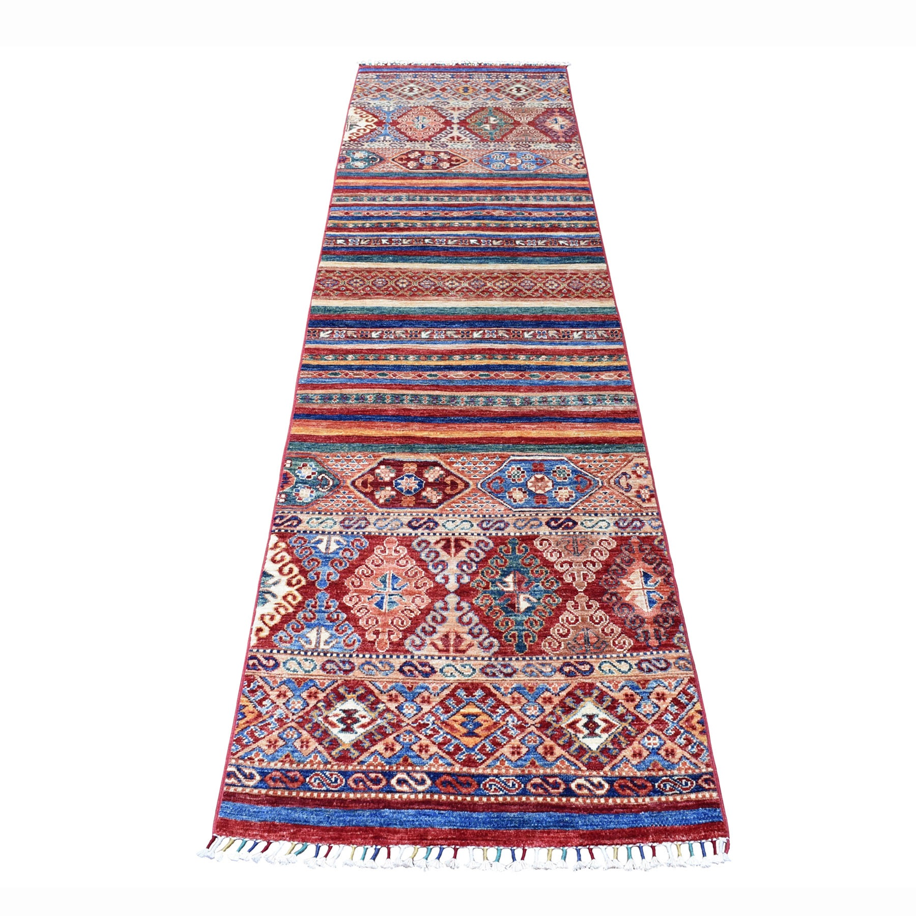 "2'6""X9'8"" Khorjin Design Runner Red Super Kazak Geometric Hand Knotted 100% Wool Oriental Rug moaeb780"