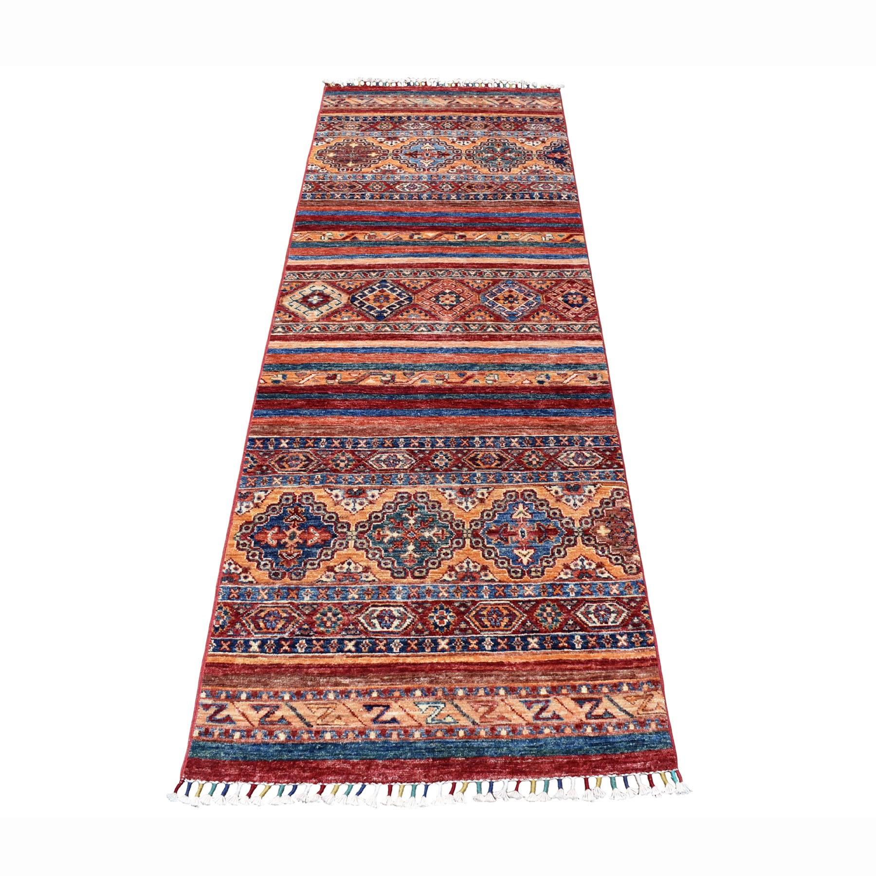 "2'6""X7'6"" Khorjin Design Runner Red Super Kazak Geometric Hand Knotted 100% Wool Oriental Rug moaeb78a"