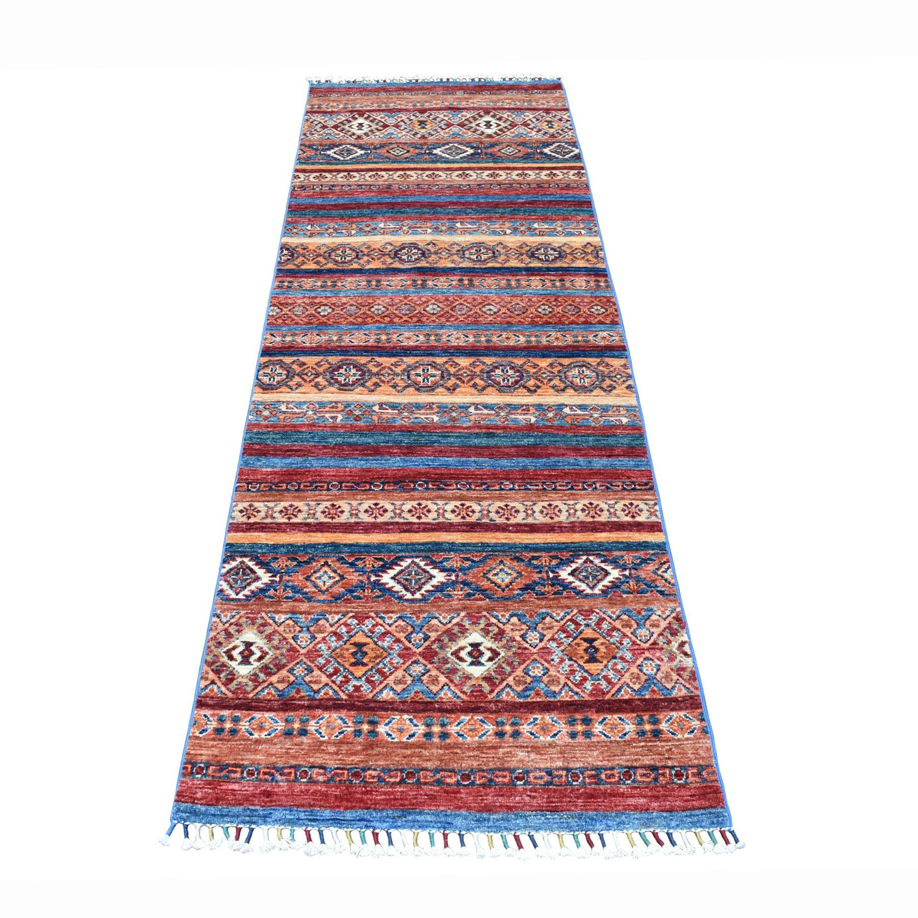 "2'8""X8' Khorjin Design Runner Blue Super Kazak Geometric Pure Wool Hand Knotted Oriental Rug moaeb78b"