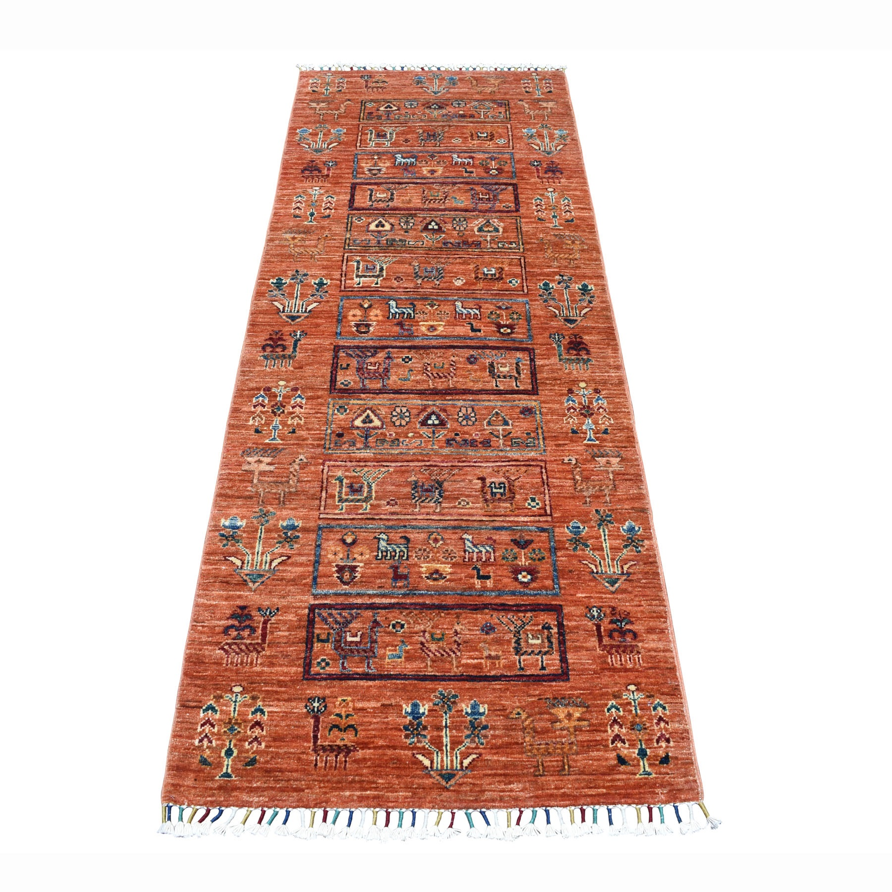 "2'6""X7' Orange Kashkuli Design Super Kazak Pictorial Pure Wool Hand Knotted Oriental Rug moaeb78c"