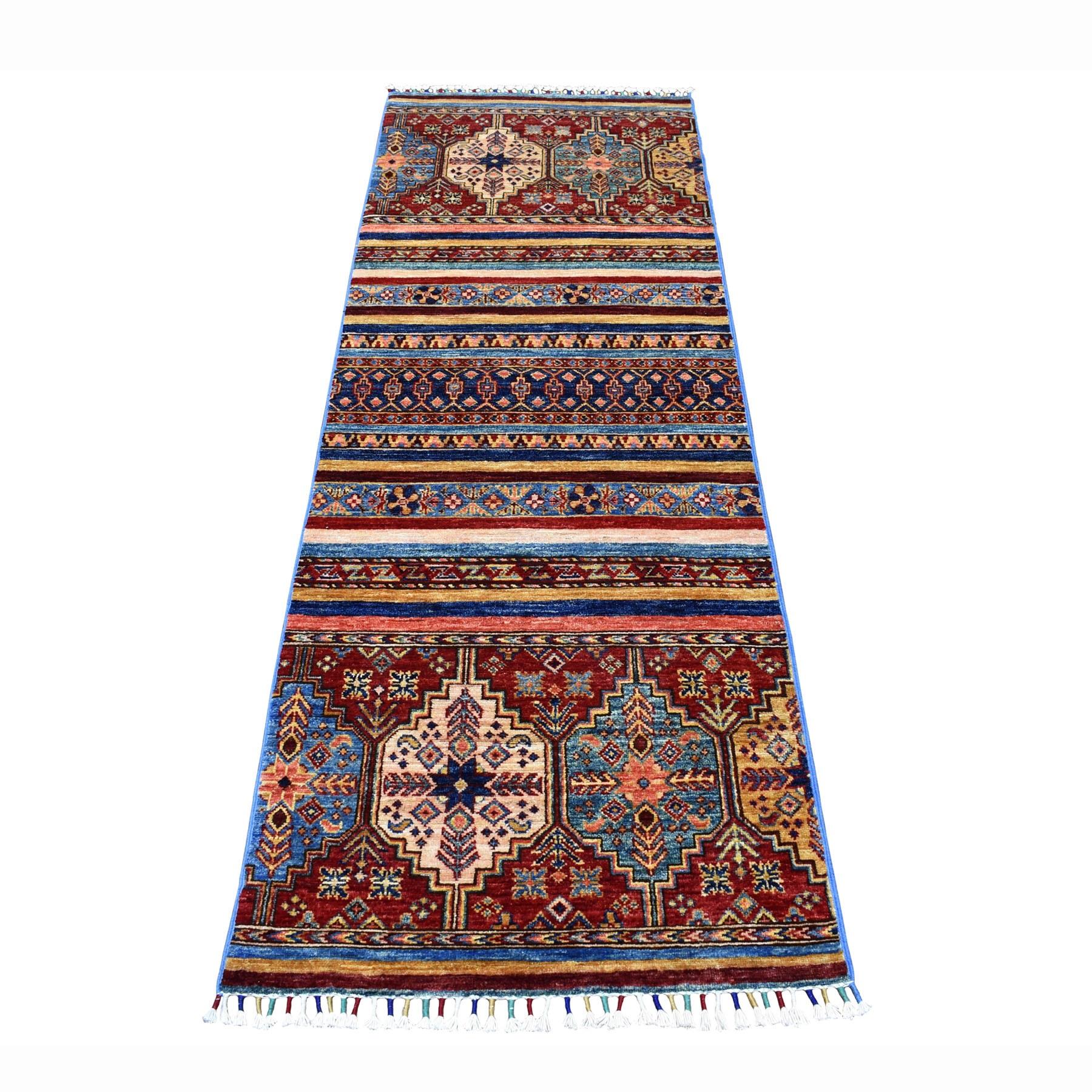 """2'5""""X7'1"""" Khorjin Design Runner Blue Super Kazak Geometric Pure Wool Hand Knotted Oriental Rug moaeb78d"""