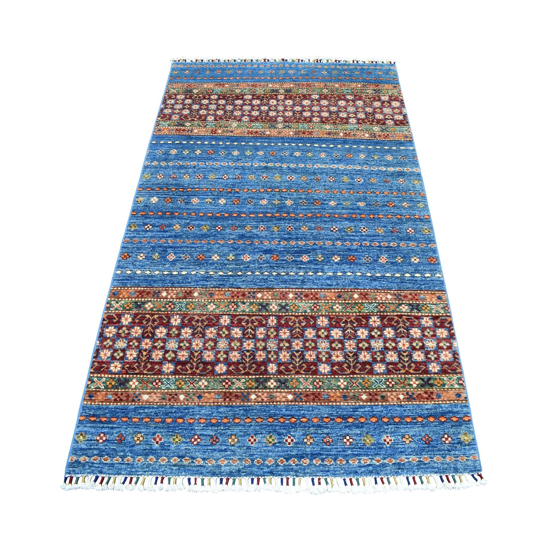 "4'X6'1"" Khorjin Design Blue Super Kazak Geometric Pure Wool Hand Knotted Oriental Rug moaeb78e"