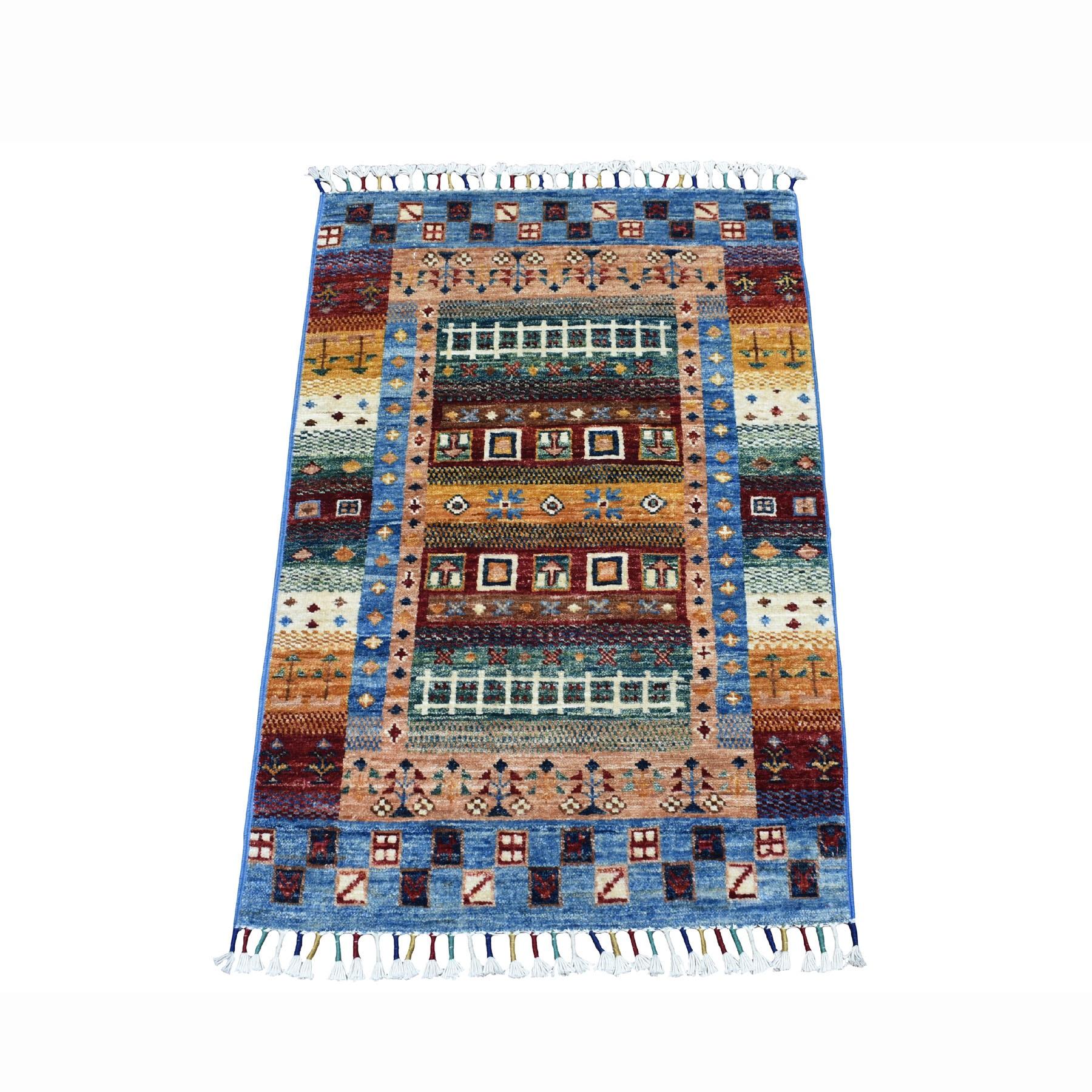 "2'1""X3'2"" Blue Kashkuli Design Super Kazak Geometric Pure Wool Hand Knotted Oriental Rug moaeb798"
