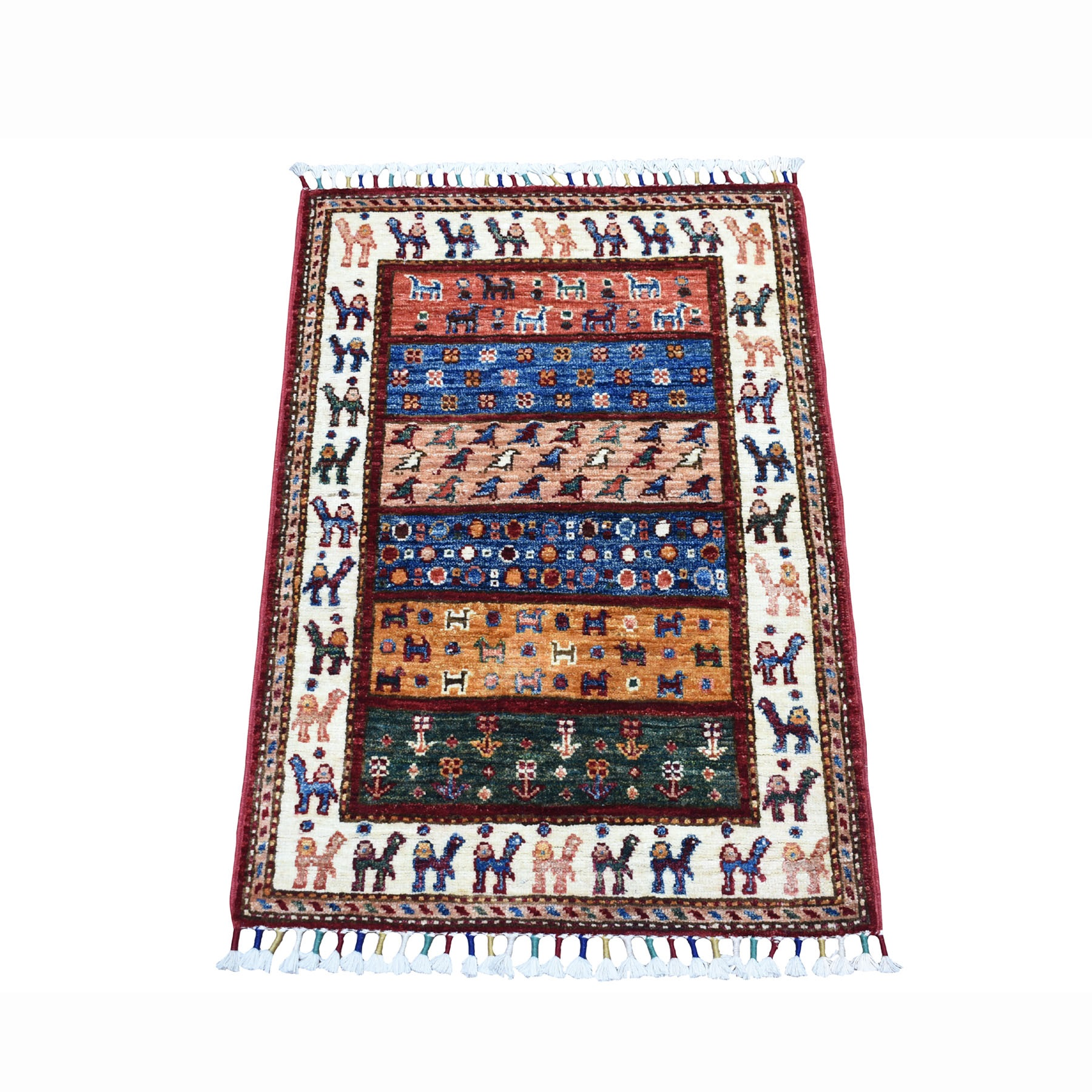 "2'X2'9"" Red Khorjin Design Super Kazak Camel Pure Wool Hand Knotted Oriental Rug moaeb799"