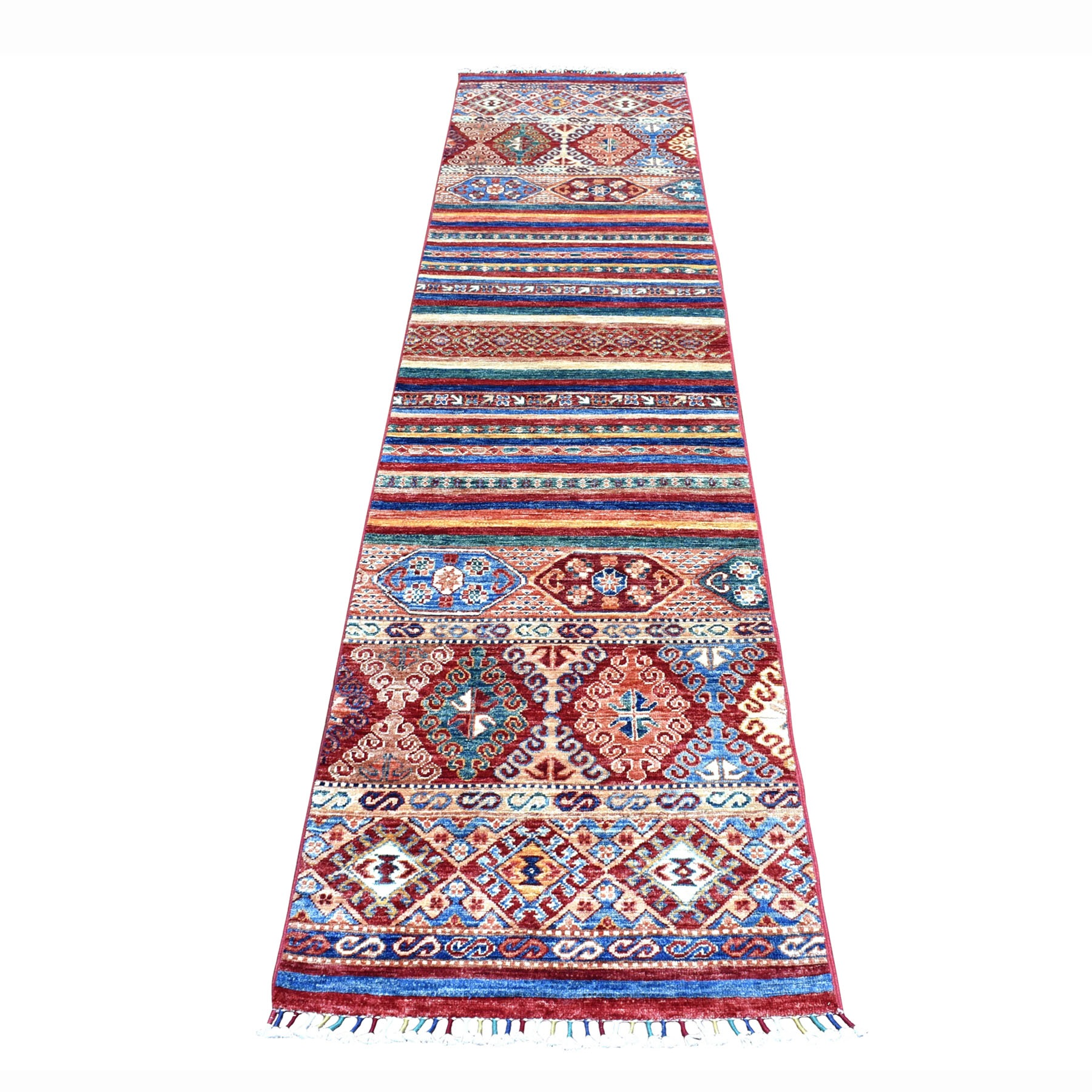 "2'1""X9'8"" Khorjin Design Runner Red Super Kazak Geometric Hand Knotted 100% Wool Oriental Rug moaeb80a"