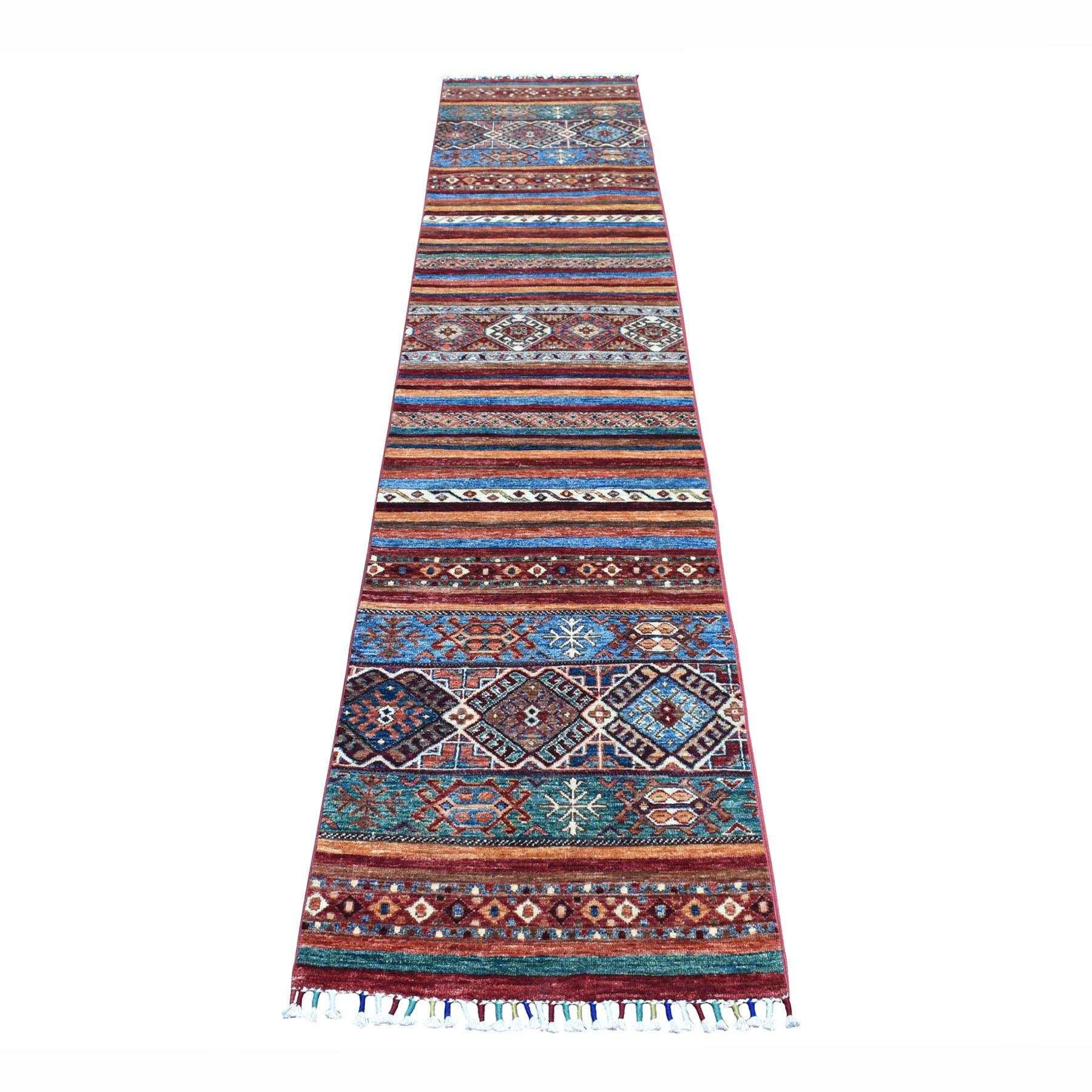 "2'X10'2"" Khorjin Design Runner Red Super Kazak Geometric Hand Knotted 100% Wool Oriental Rug moaeb80c"