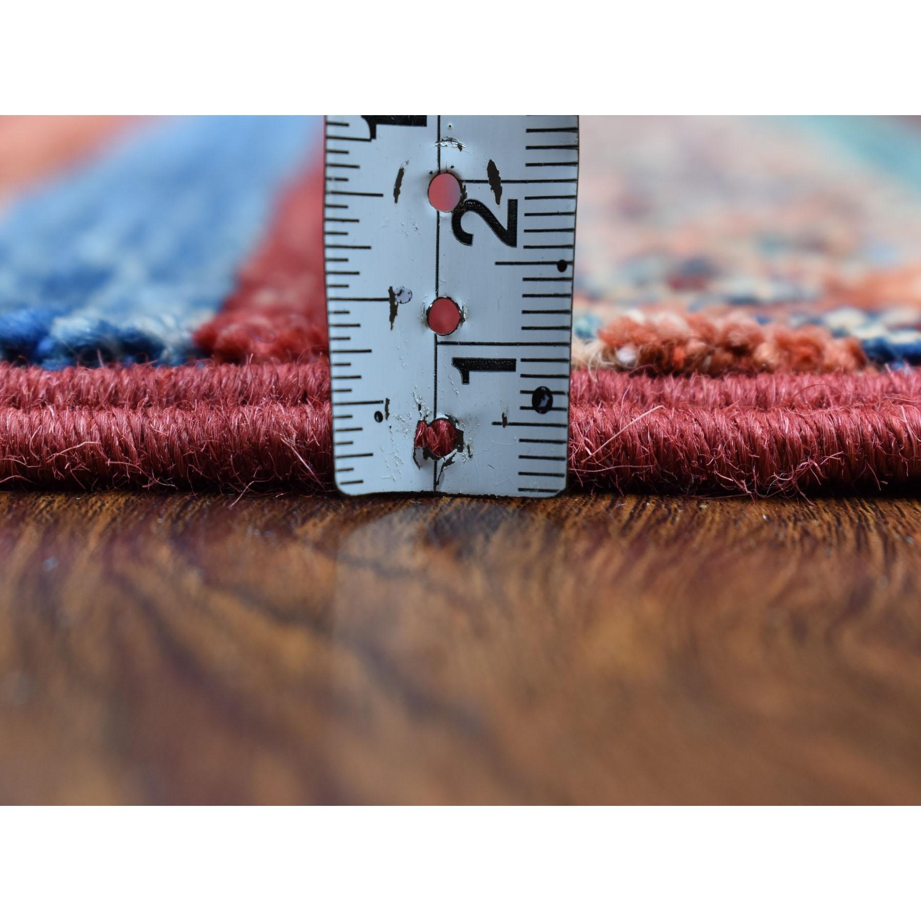 2-x10-2  Khorjin Design Runner Red Super Kazak Geometric Hand Knotted 100% Wool Oriental Rug