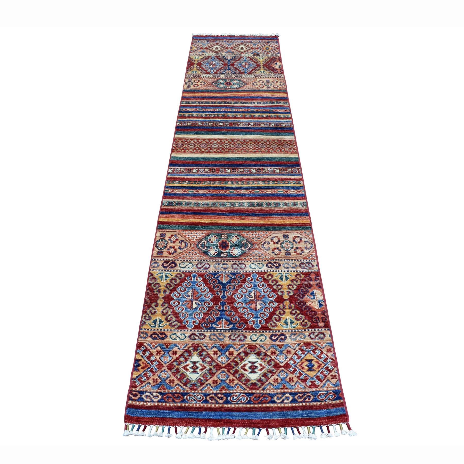 "2'1""X9'8"" Khorjin Design Runner Red Super Kazak Geometric Hand Knotted 100% Wool Oriental Rug moaeb80e"