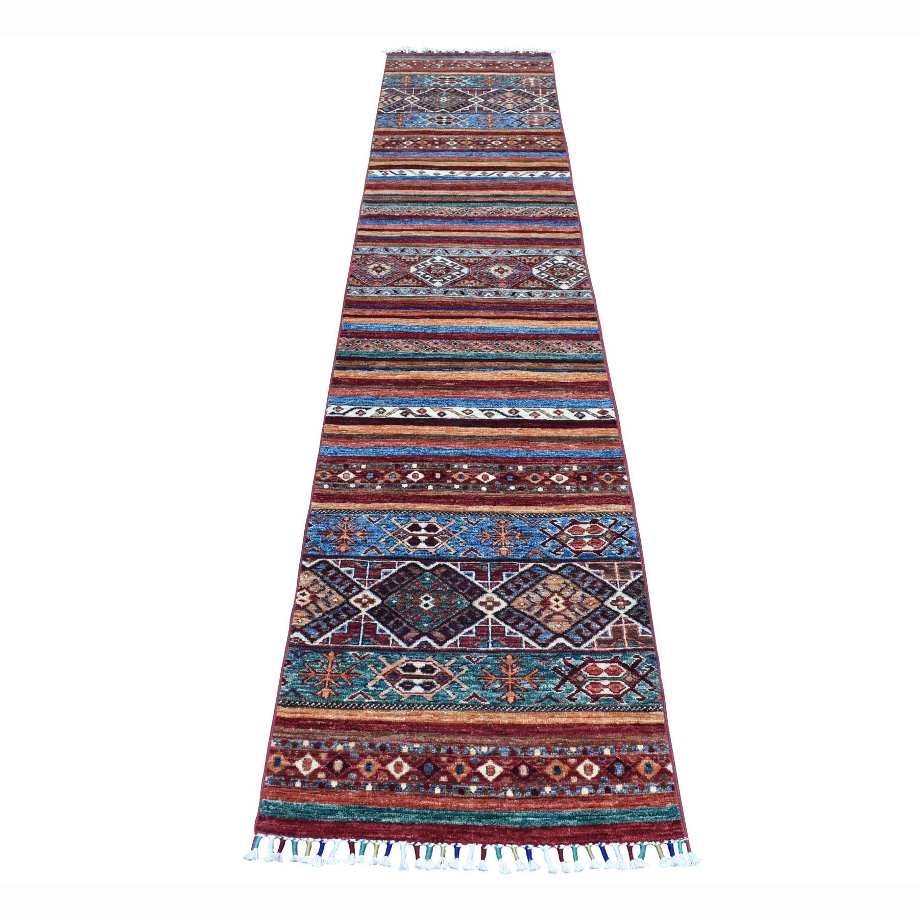 "2'X10'2"" Khorjin Design Runner Red Super Kazak Geometric Hand Knotted 100% Wool Oriental Rug moaeb806"