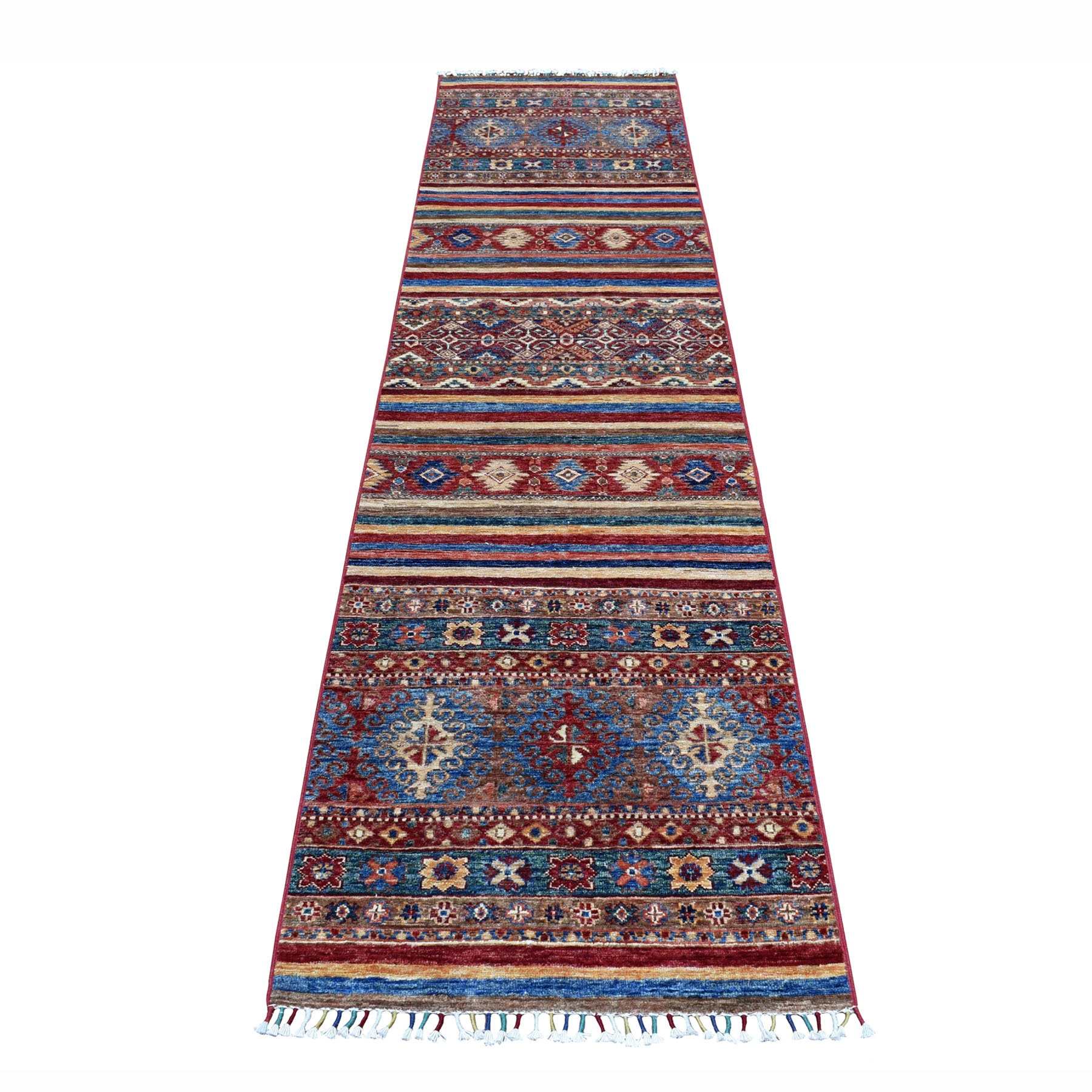 "2'4""X9'7"" Khorjin Design Runner Red Super Kazak Geometric Hand Knotted 100% Wool Oriental Rug moaeb807"
