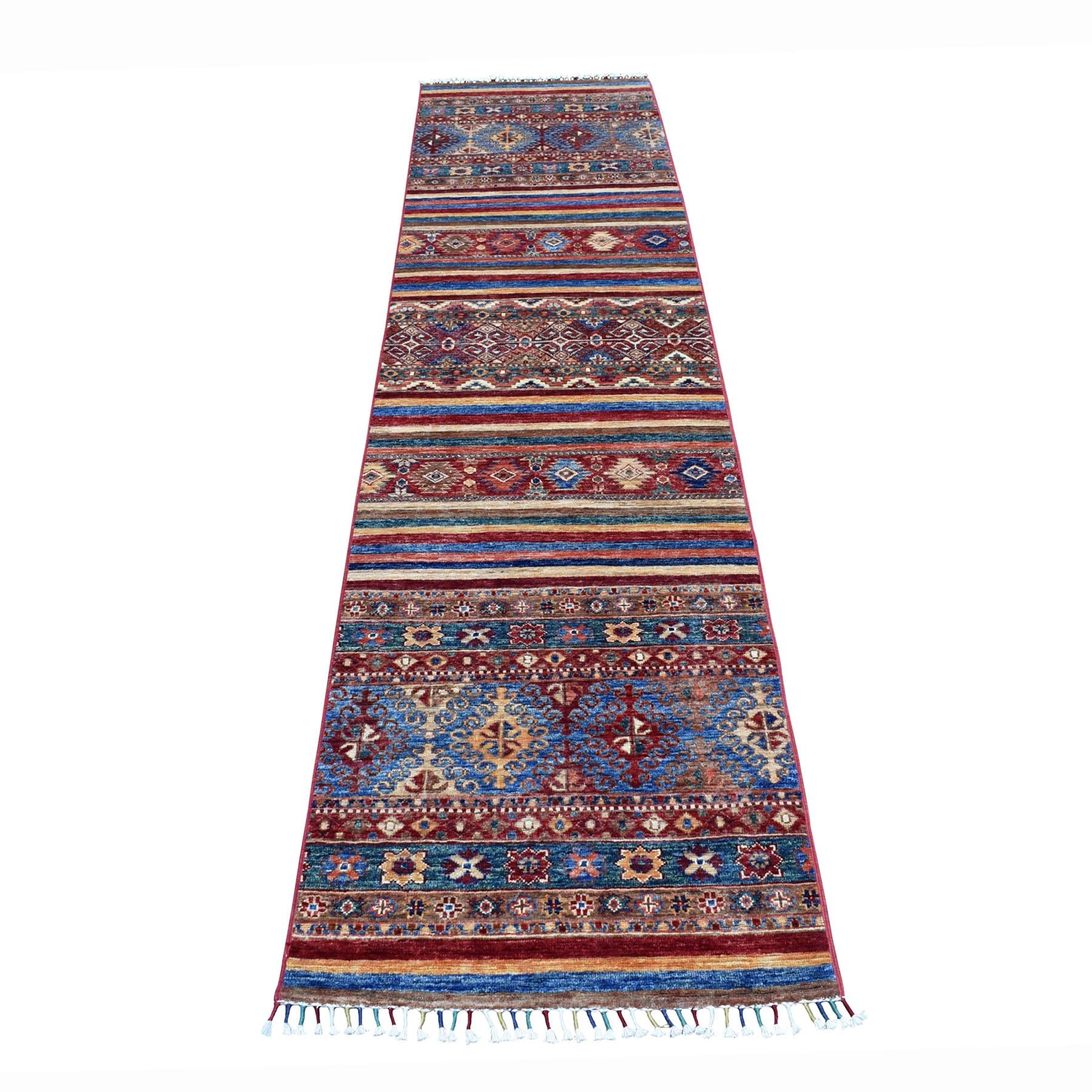 "2'4""X9'8"" Khorjin Design Runner Red Super Kazak Geometric Hand Knotted 100% Wool Oriental Rug moaeb808"