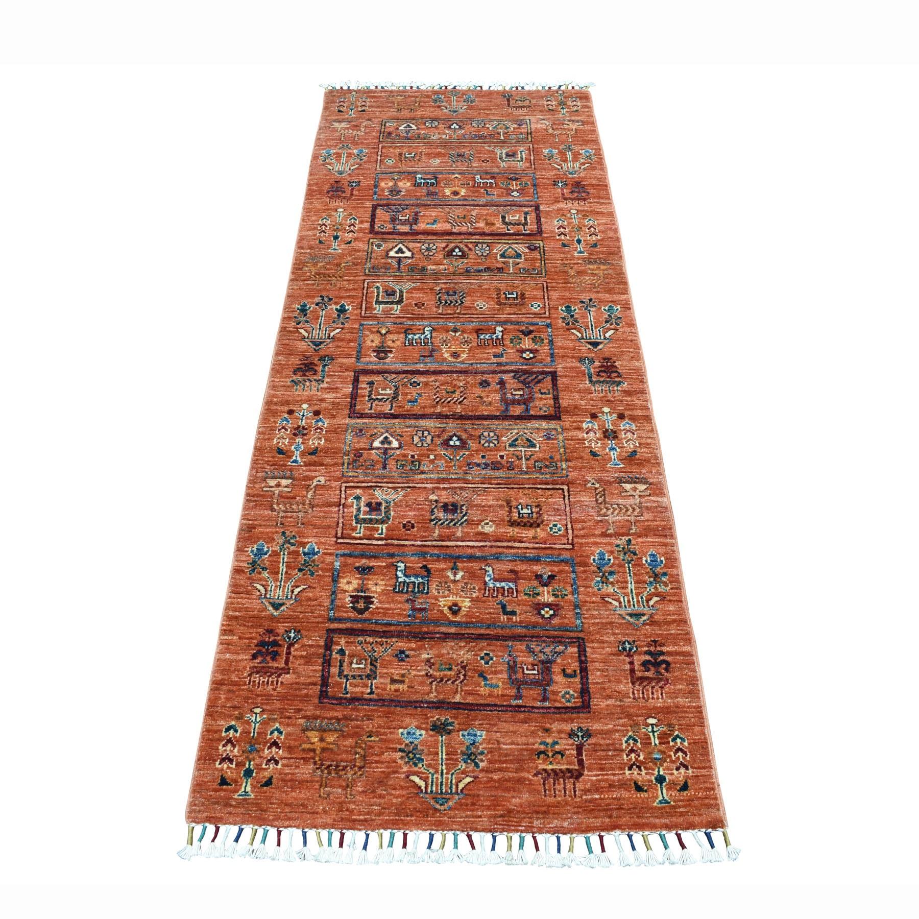 "2'6""X6'10"" Orange Kashkuli Runner Super Kazak Pictorial Pure Wool Hand Knotted Oriental Rug moaeb809"