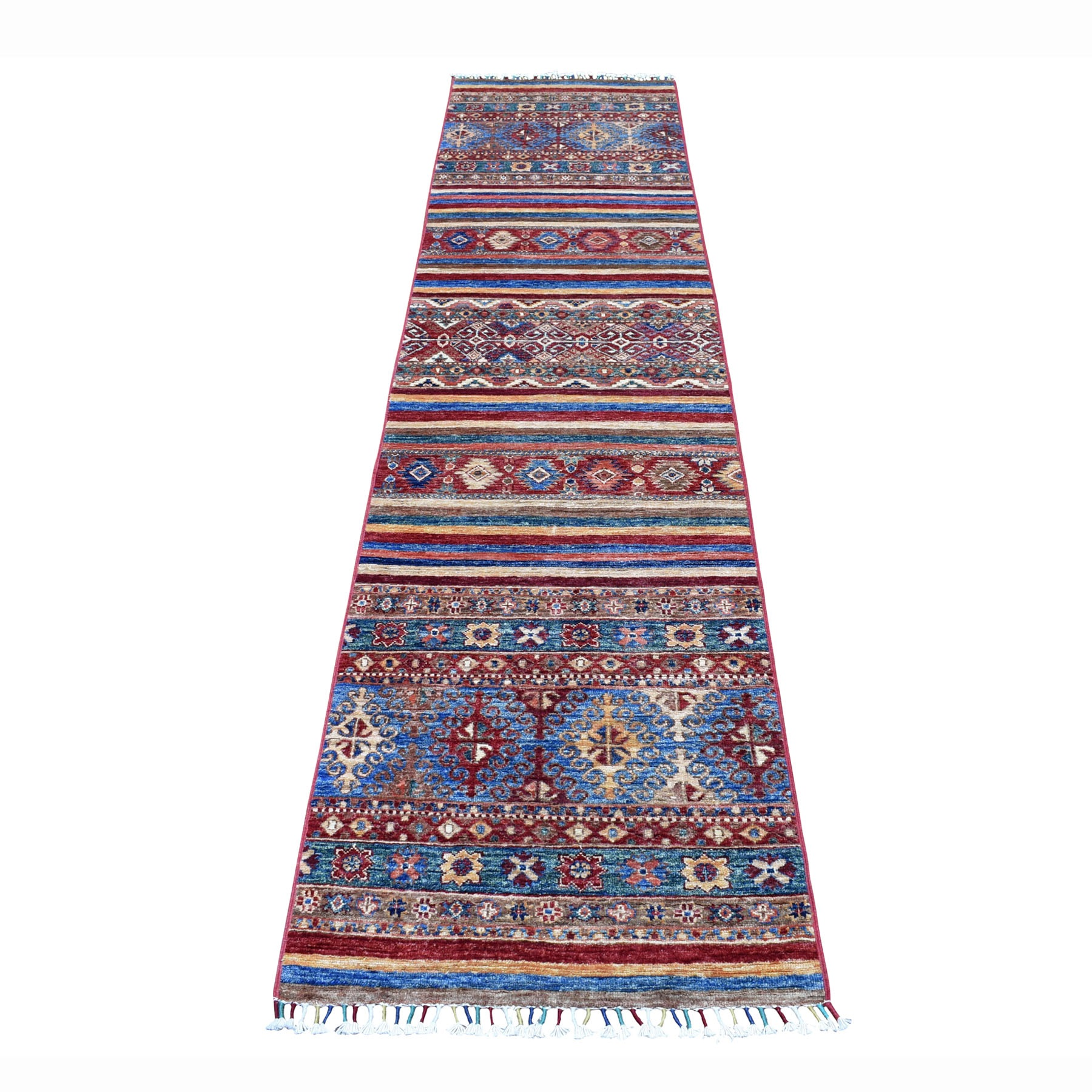 "2'3""X9'7"" Khorjin Design Runner Red Super Kazak Geometric Hand Knotted Pure Wool Oriental Rug moaeb8a0"