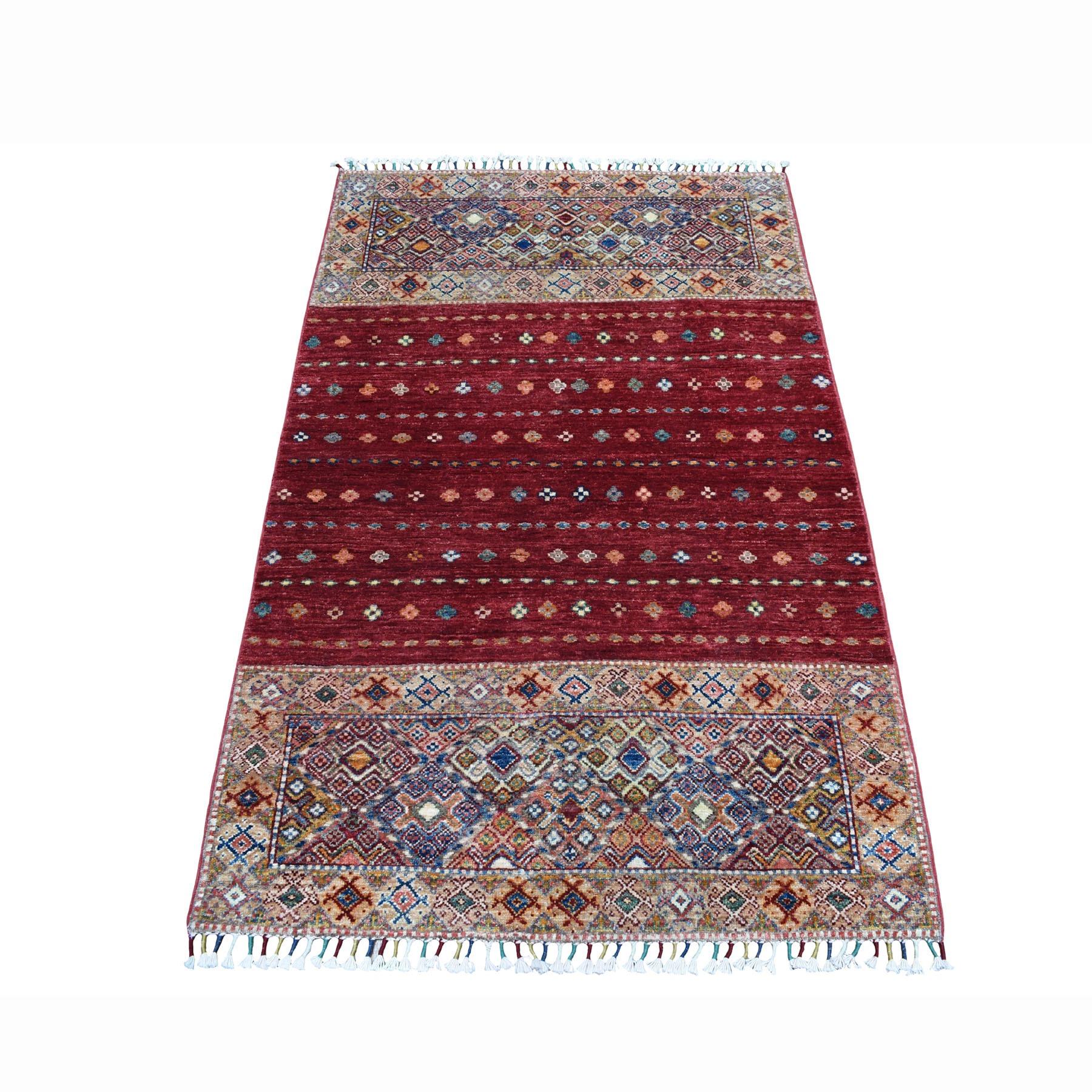 "3'5""X5' Khorjin Design Red Super Kazak Geometric Pure Wool Hand Knotted Oriental Rug moaeb8ac"
