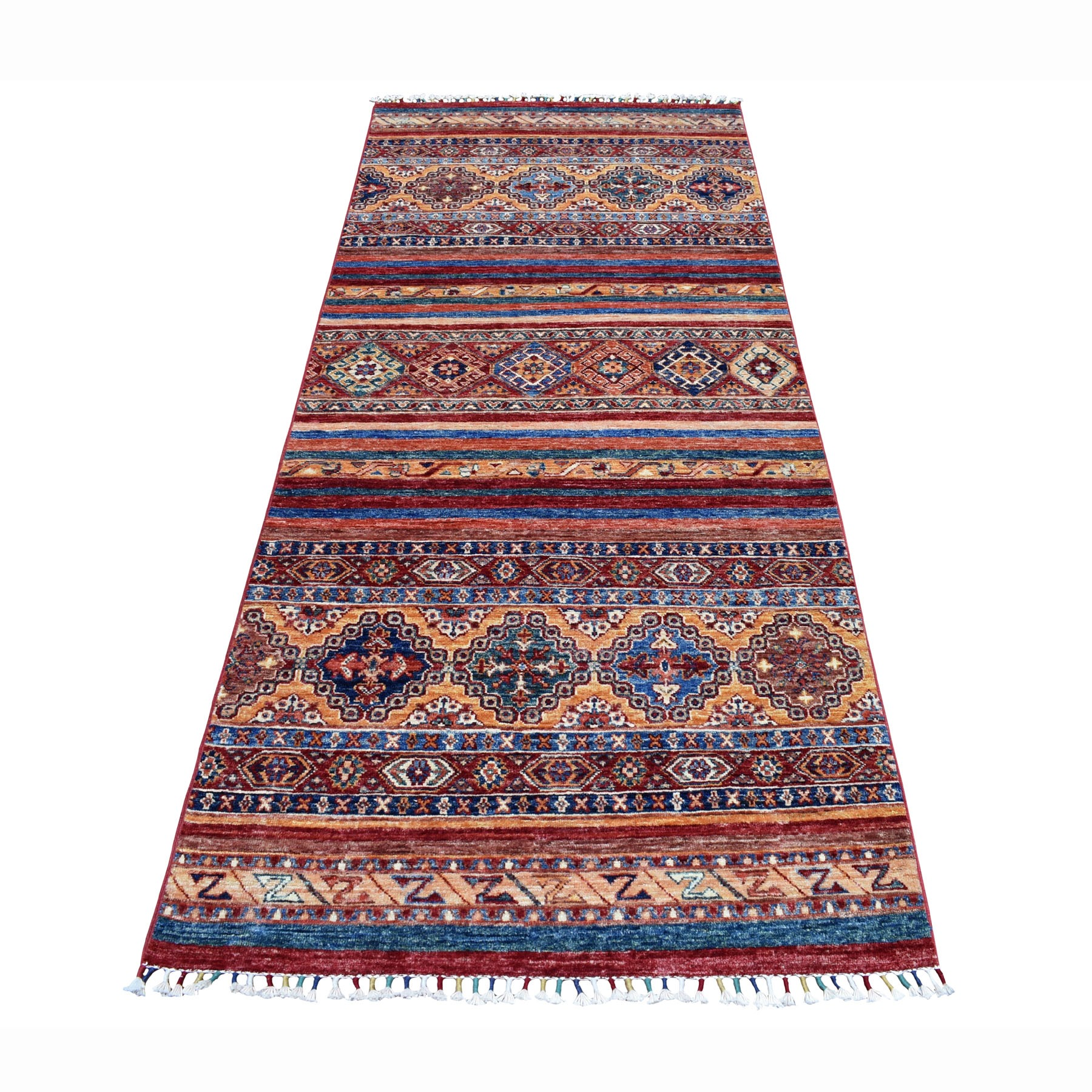 "3'2""X7'6"" Khorjin Design Runner Red Super Kazak Geometric Hand Knotted Pure Wool Oriental Rug moaeb8ae"