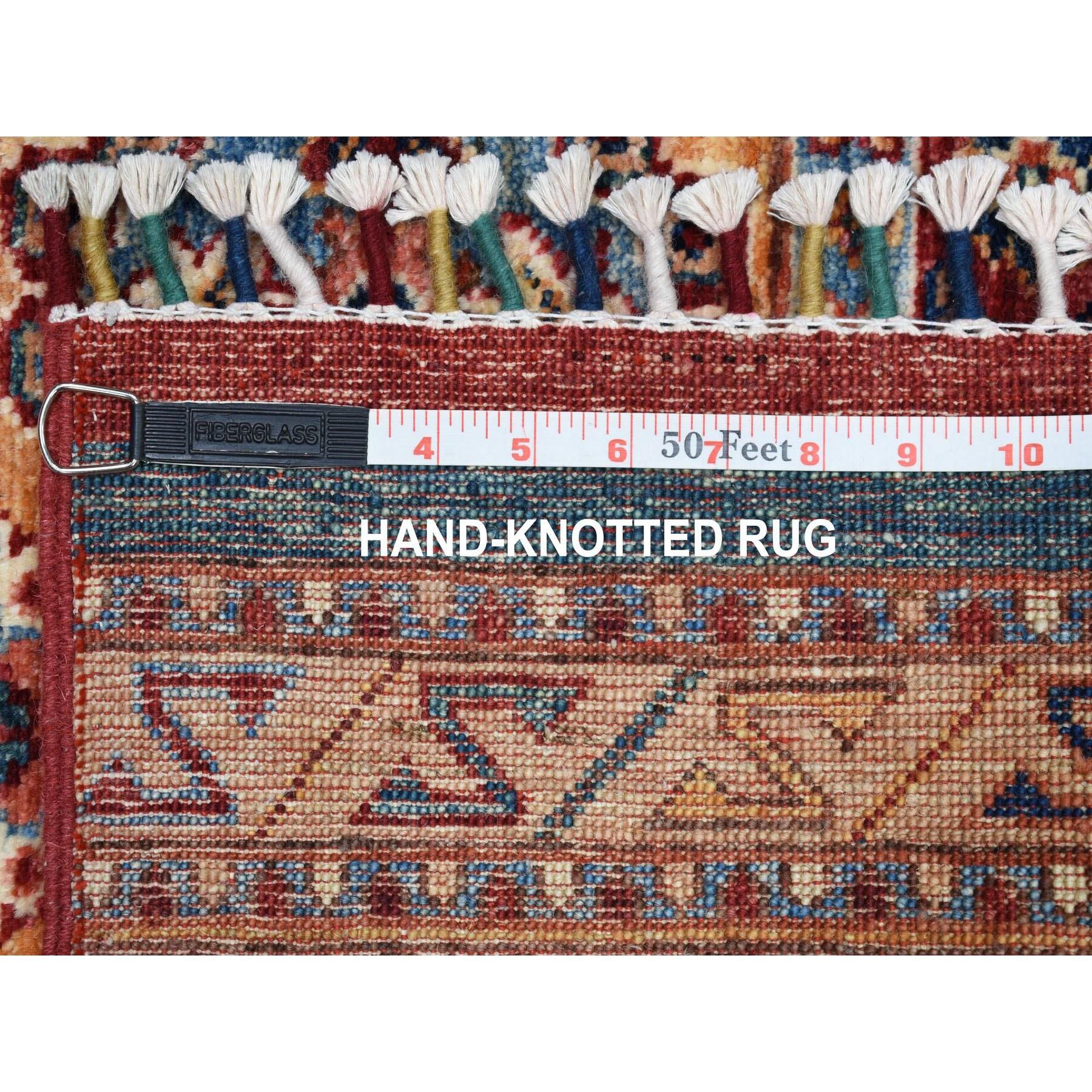 "3'2""x7'6"" Khorjin Design Runner Red Super Kazak Geometric Hand Knotted Pure Wool Oriental Rug"
