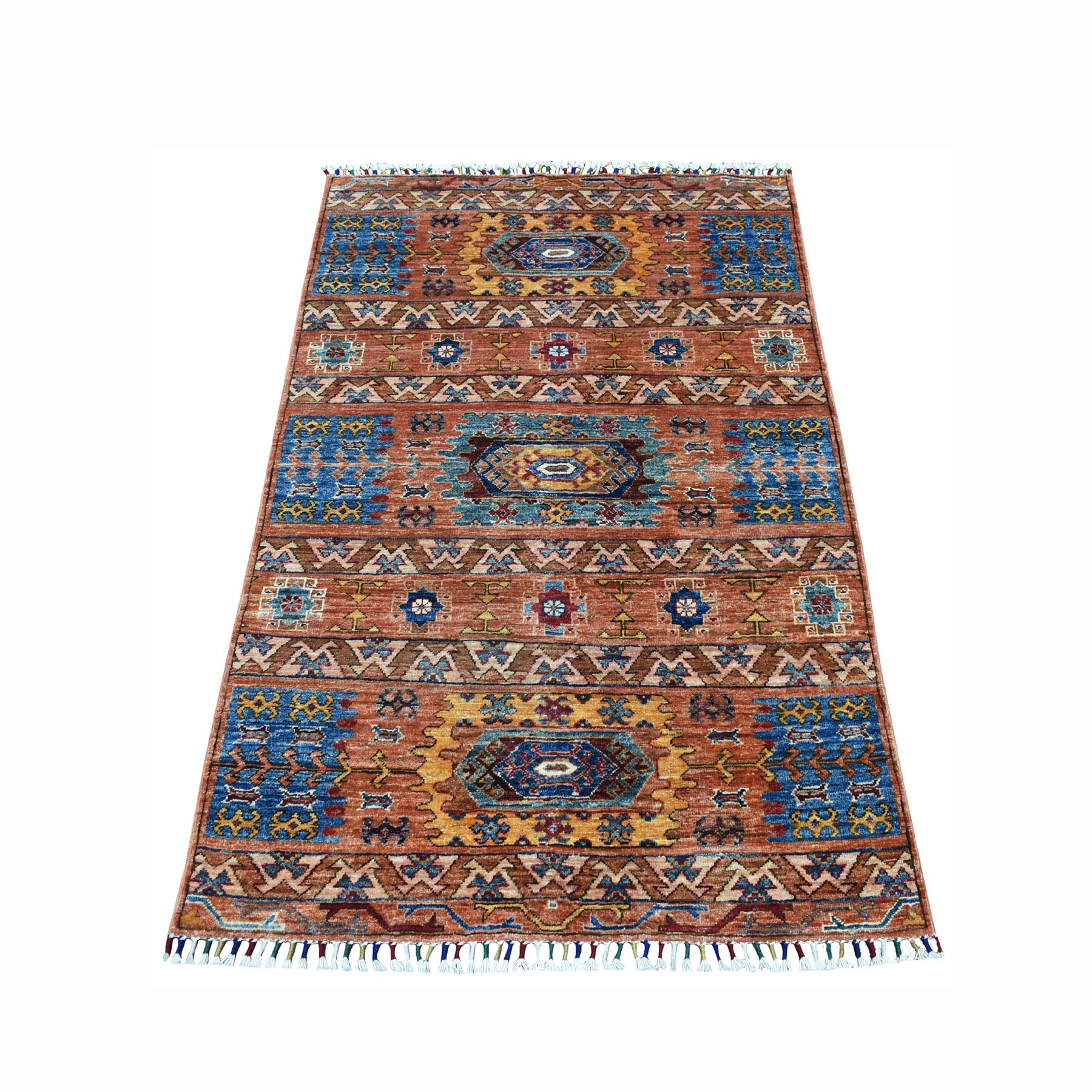 "3'4""X5' Khorjin Design Orange Super Kazak Geometric Pure Wool Hand Knotted Oriental Rug moaeb8b0"