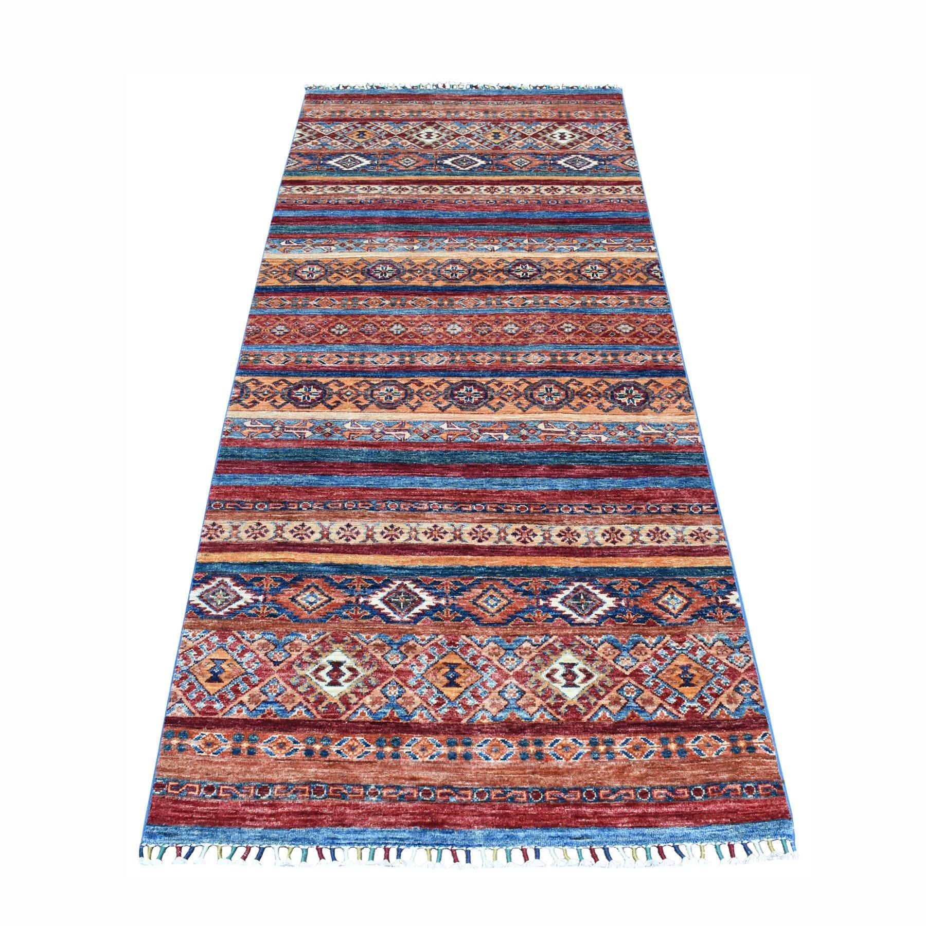 "3'2""X8' Khorjin Design Runner Orange Super Kazak Geometric Pure Wool Hand Knotted Oriental Rug moaeb8b9"