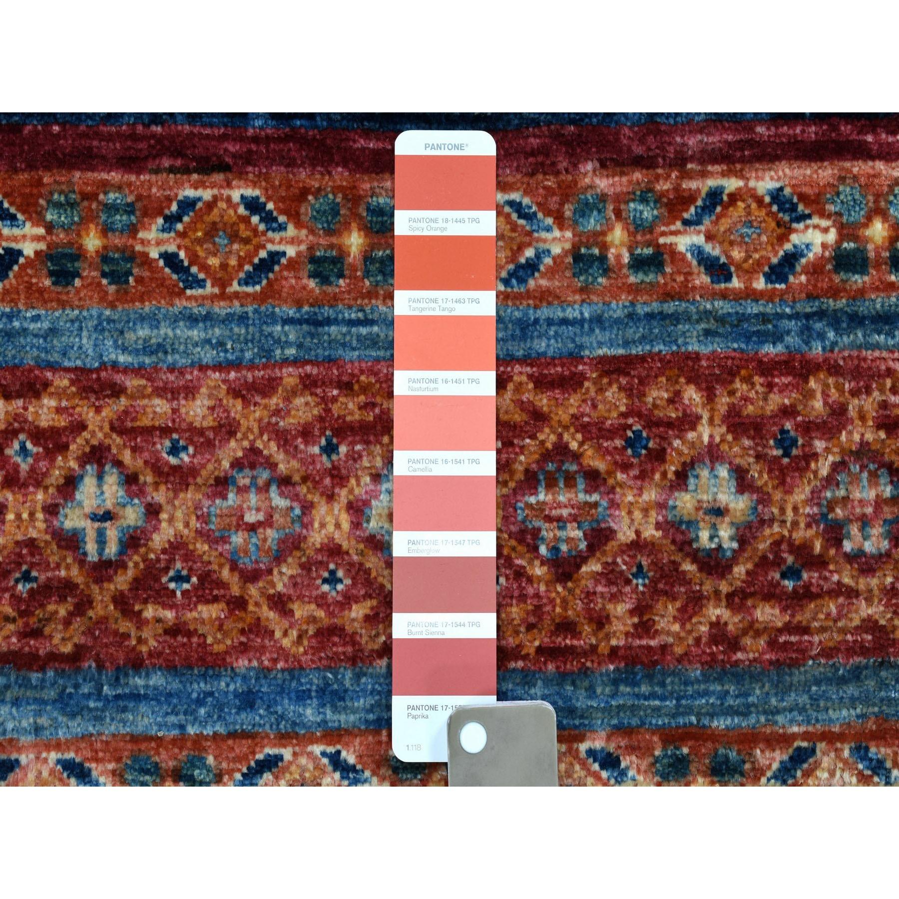 3-2 x8- Khorjin Design Runner Orange Super Kazak Geometric Pure Wool Hand Knotted Oriental Rug