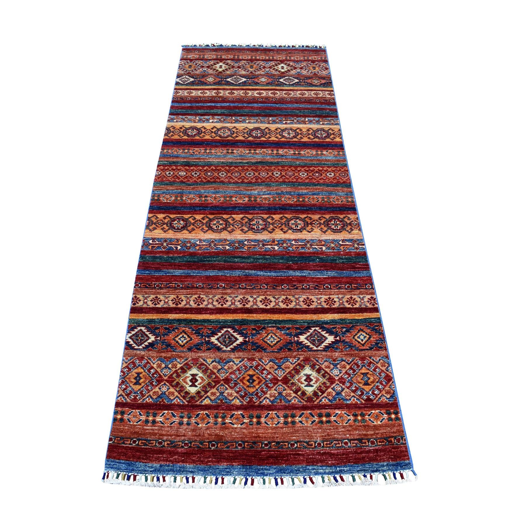 "3'X8'3"" Khorjin Design Runner Red Super Kazak Geometric Hand Knotted Pure Wool Oriental Rug moaeb8ca"