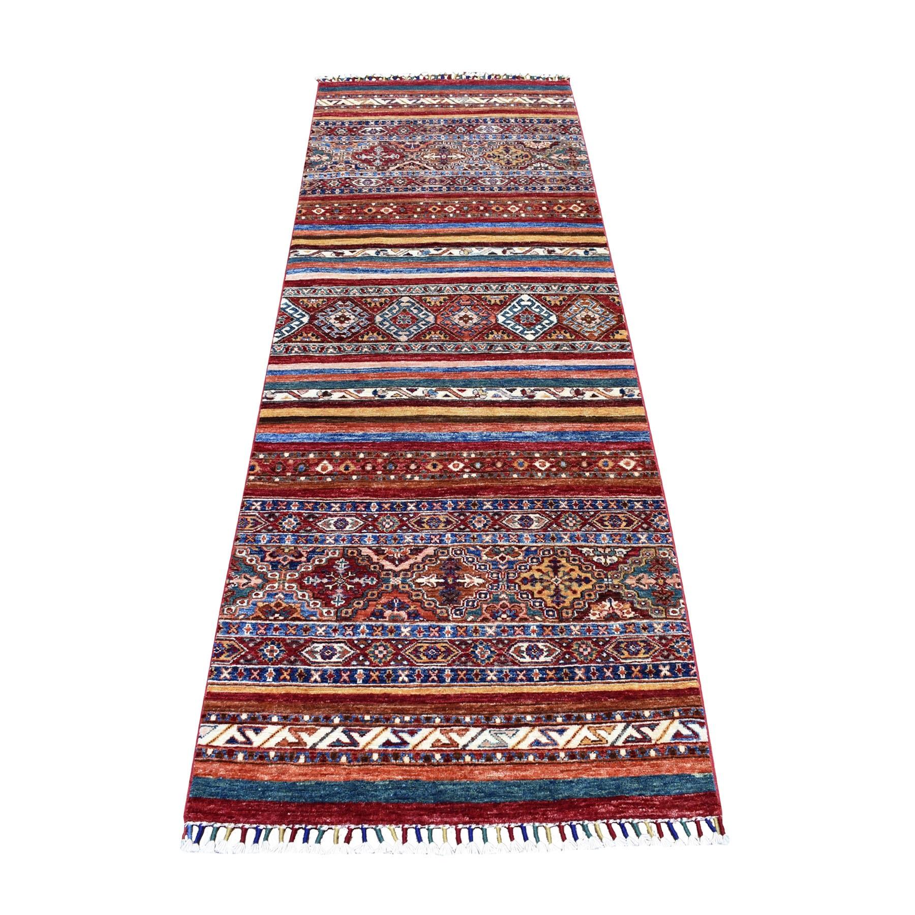 3'X8' Khorjin Design Runner Red Super Kazak Geometric Hand Knotted Pure Wool Oriental Rug moaeb8cc