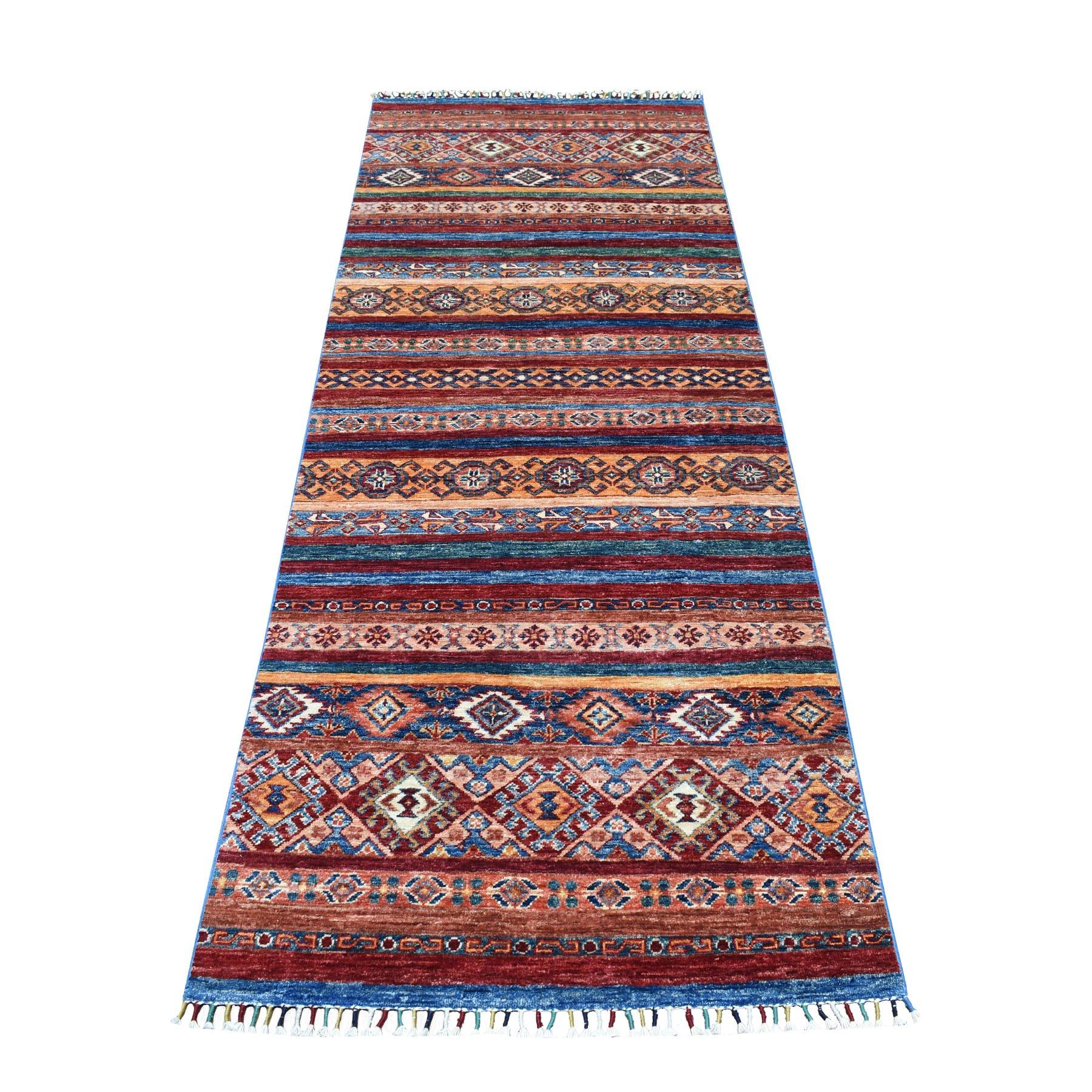 "3'X8'2"" Khorjin Design Runner Red Super Kazak Geometric Hand Knotted Pure Wool Oriental Rug moaeb8cd"