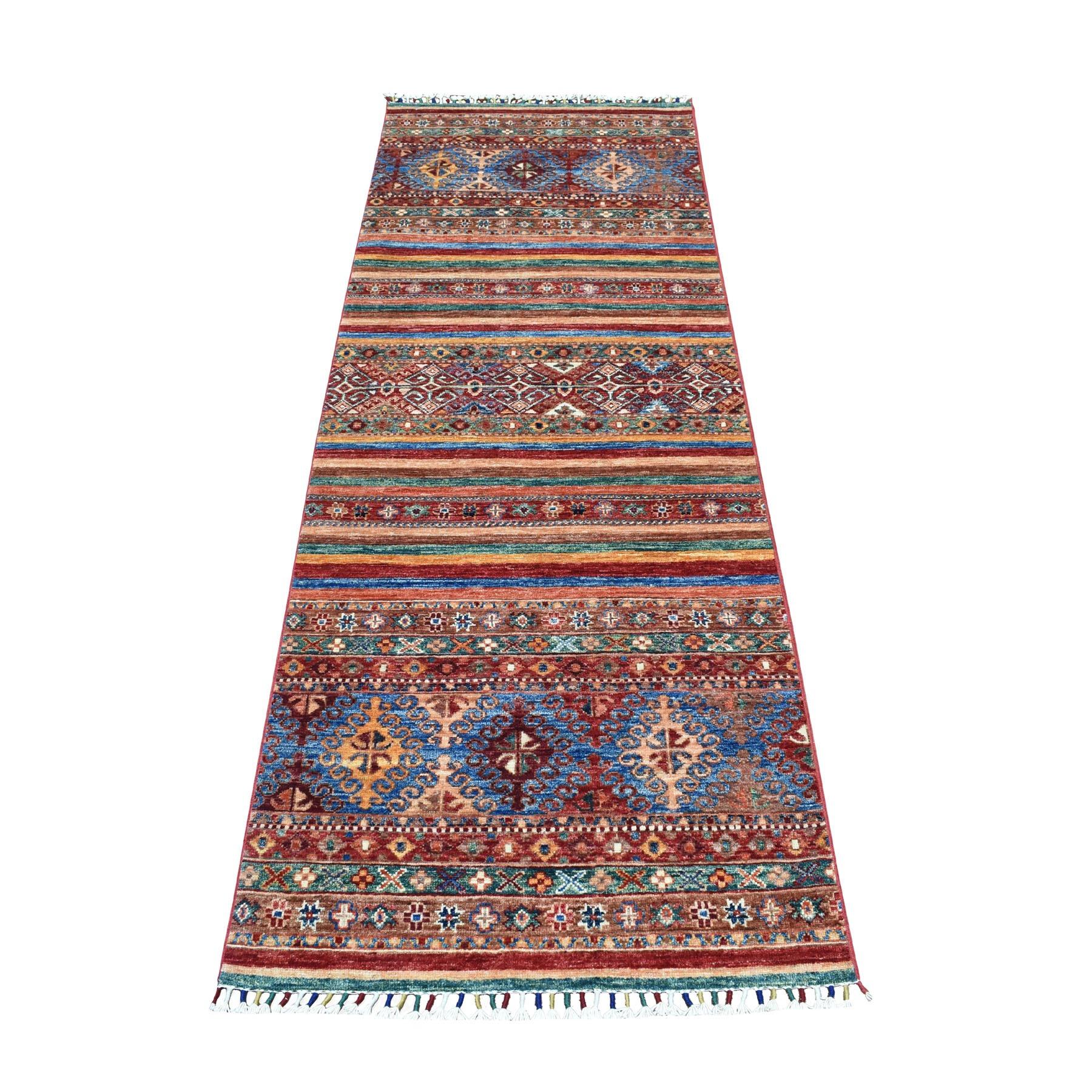 "2'9""X7'7"" Khorjin Design Runner Red Super Kazak Geometric Hand Knotted Pure Wool Oriental Rug moaeb8c6"