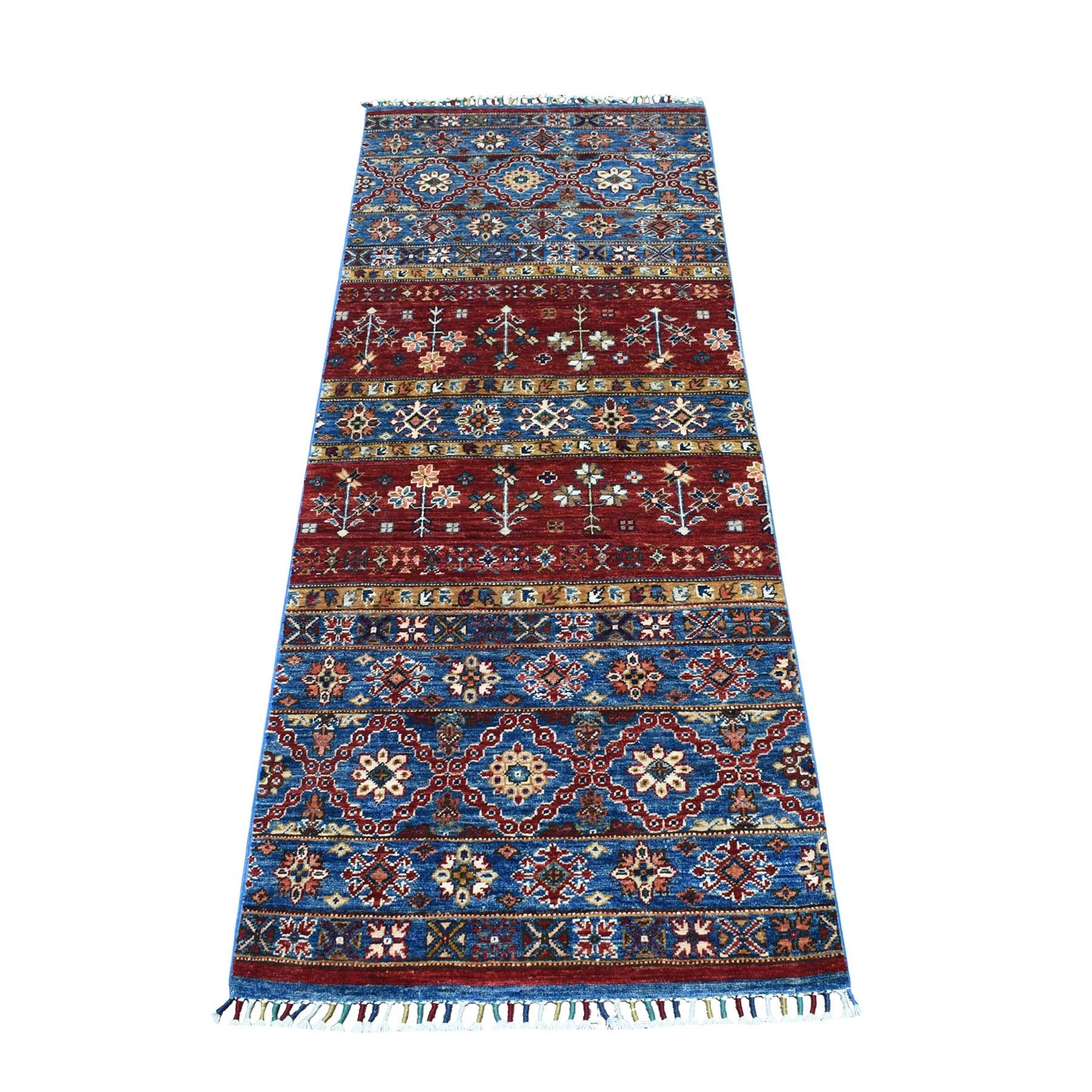 "2'5""X6'6"" Khorjin Design Runner Red Super Kazak Tribal Pure Wool Hand Knotted Oriental Rug moaeb8c7"