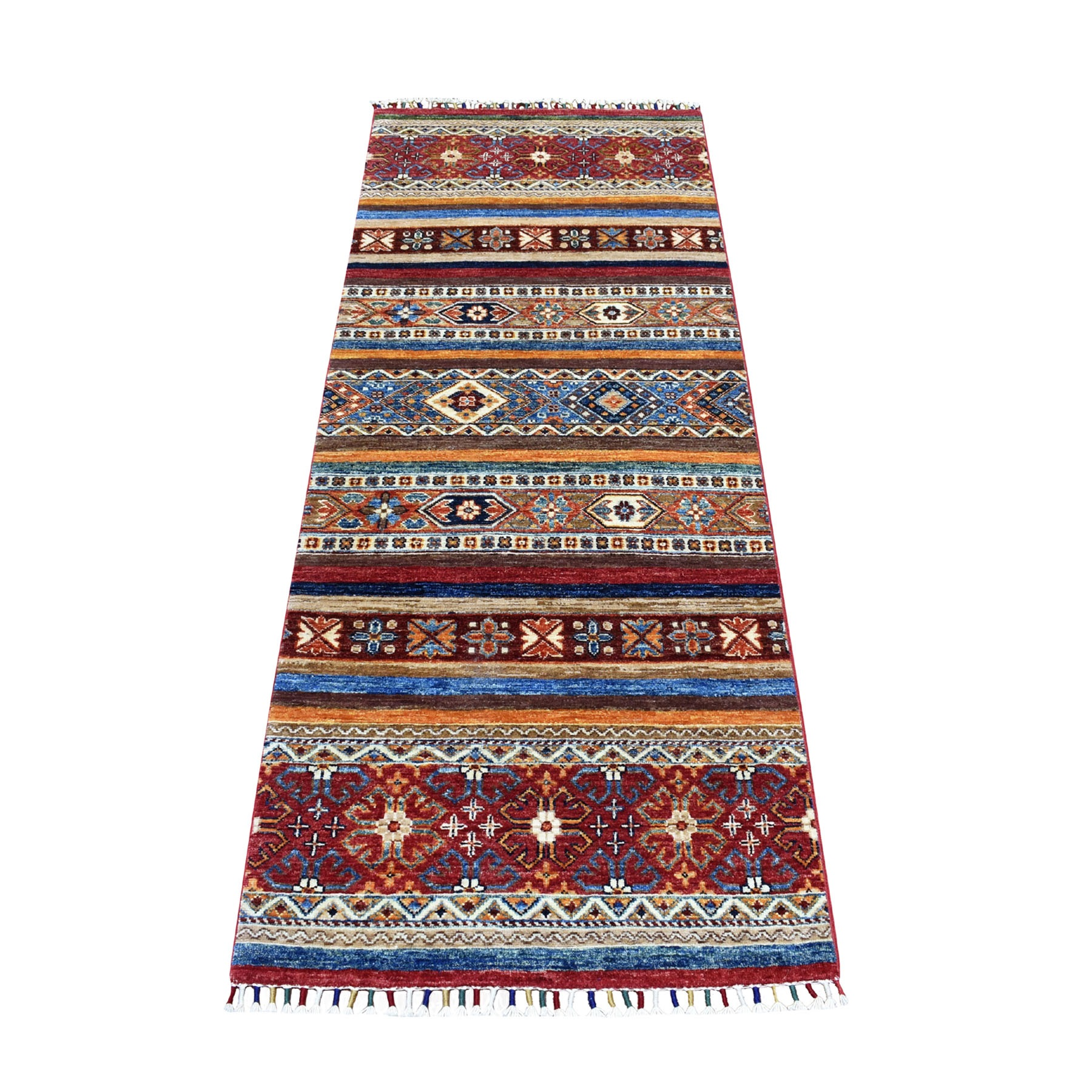 "2'5""X6'10"" Khorjin Design Runner Red Super Kazak Tribal Pure Wool Hand Knotted Oriental Rug moaeb8c8"