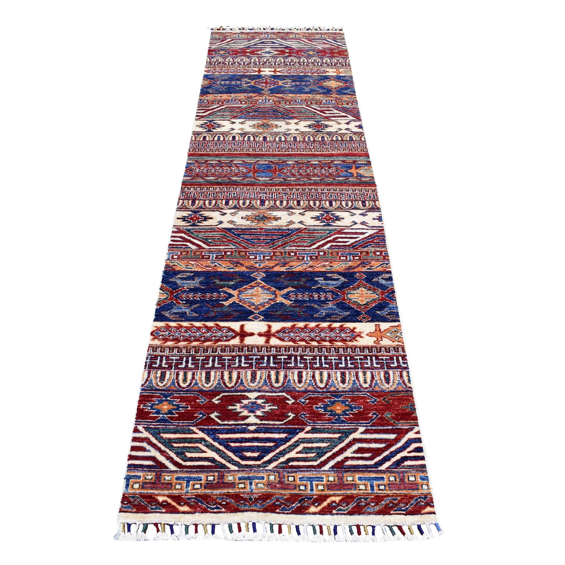 "2'4""X9'1"" Khorjin Design Runner Blue Super Kazak Tribal Pure Wool Hand Knotted Oriental Rug moaeb8c9"