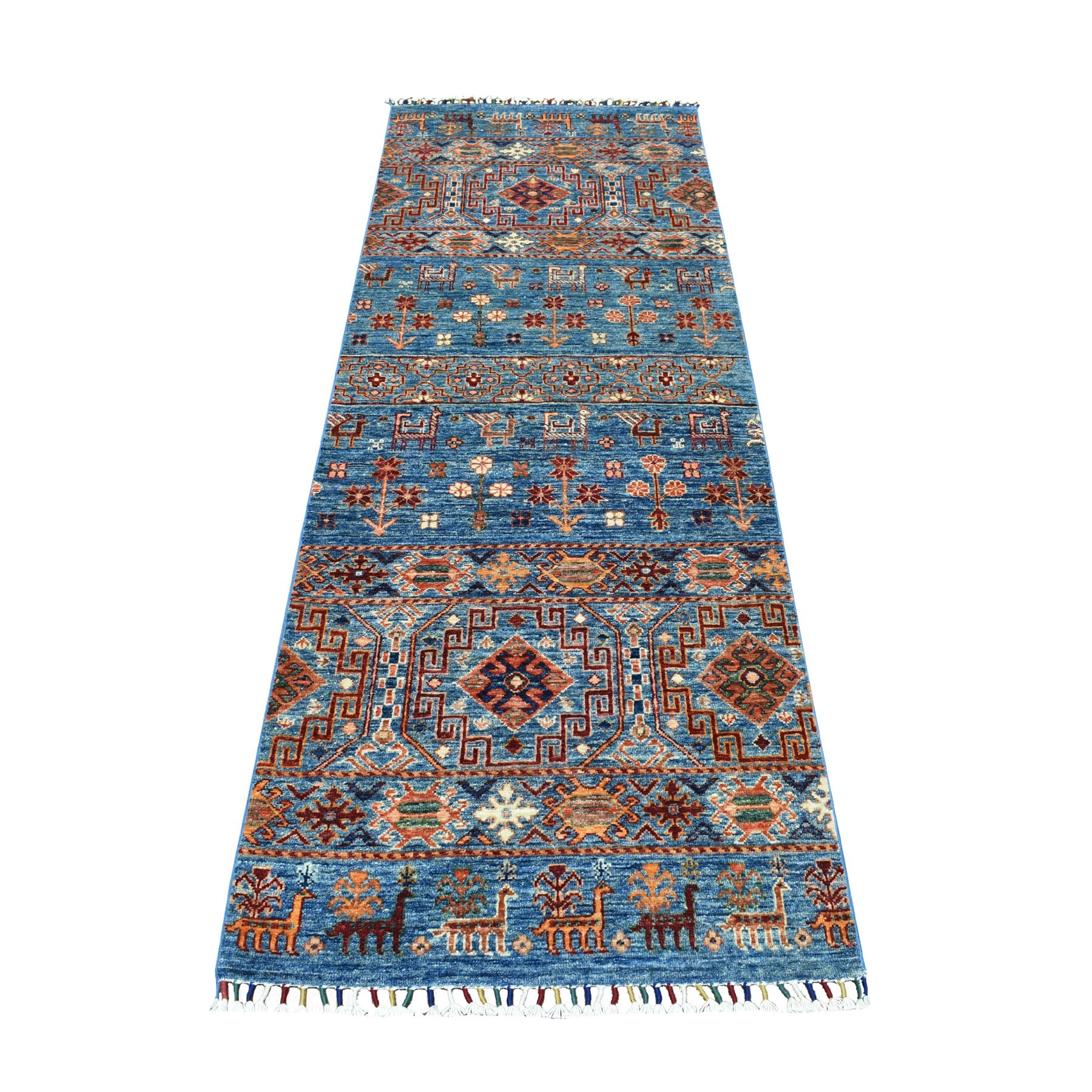 "2'9""x7'9"" Khorjin Design Runner Blue Super Kazak Tribal Pure Wool Hand Knotted Oriental Rug"