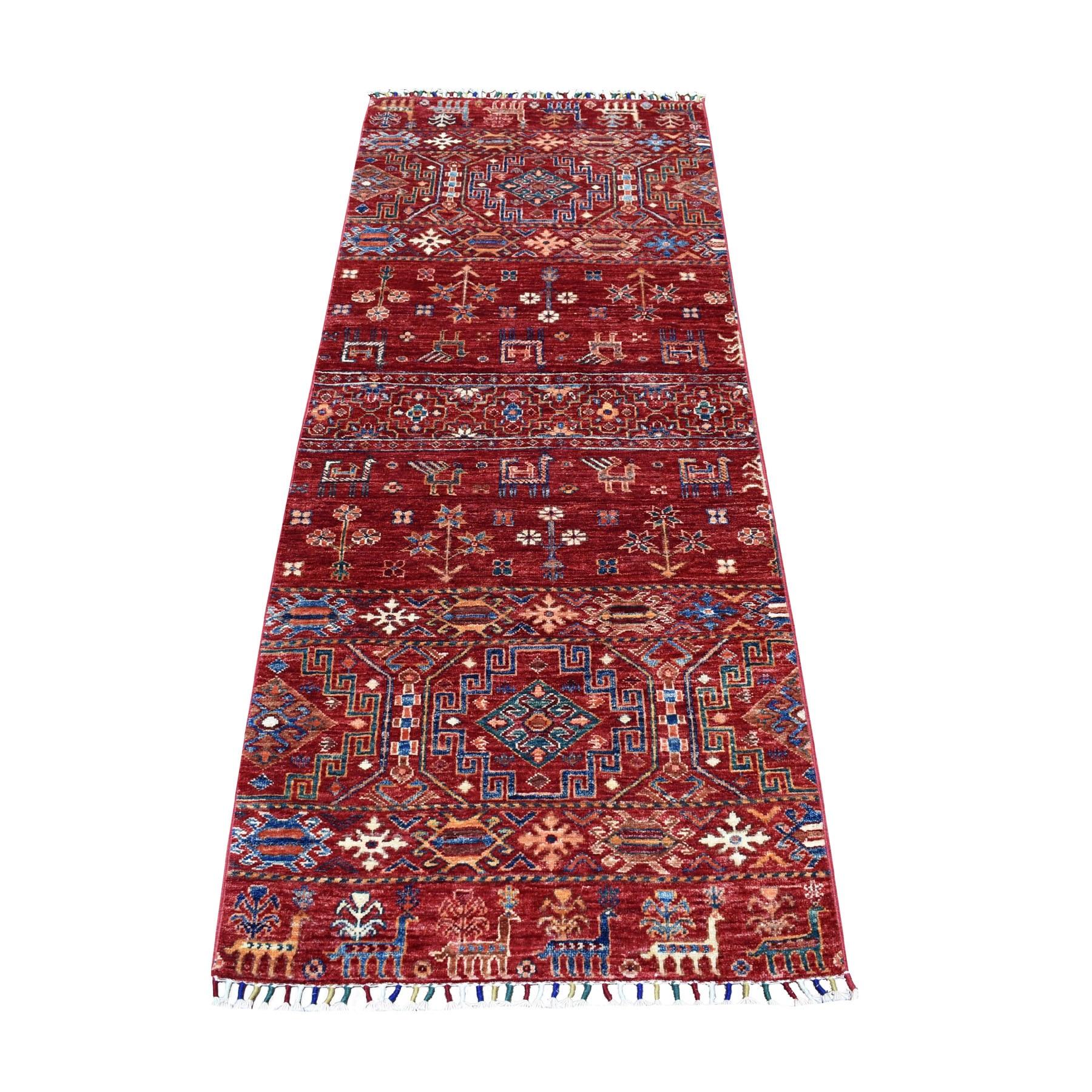 """2'5""""x6'4"""" Khorjin Design Runner Red Super Kazak Pictorial Hand Knotted 100% Wool Oriental Rug 52842"""