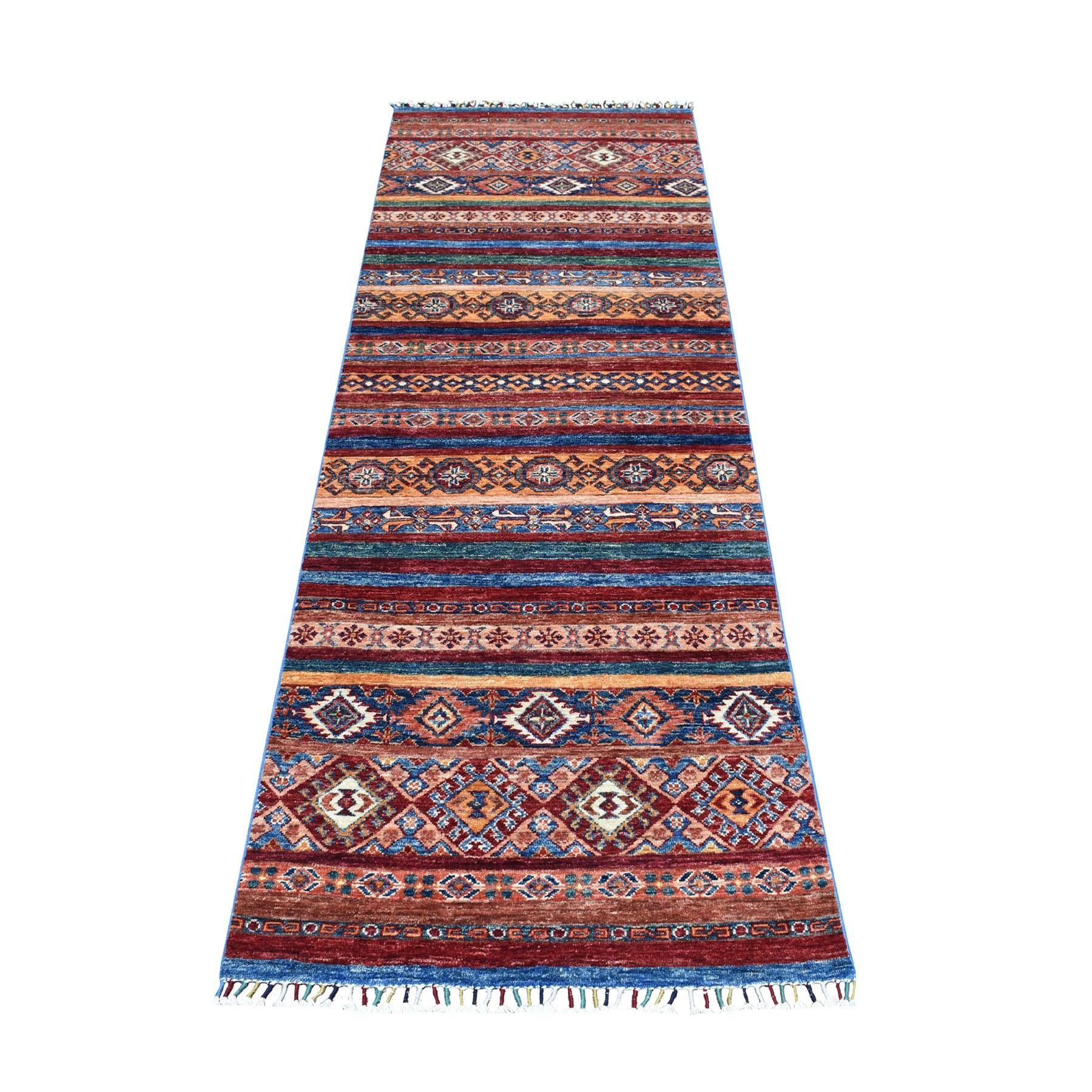 "2'9""X8'2"" Khorjin Design Runner Red Super Kazak Tribal Hand Knotted Pure Wool Oriental Rug moaeb8d6"