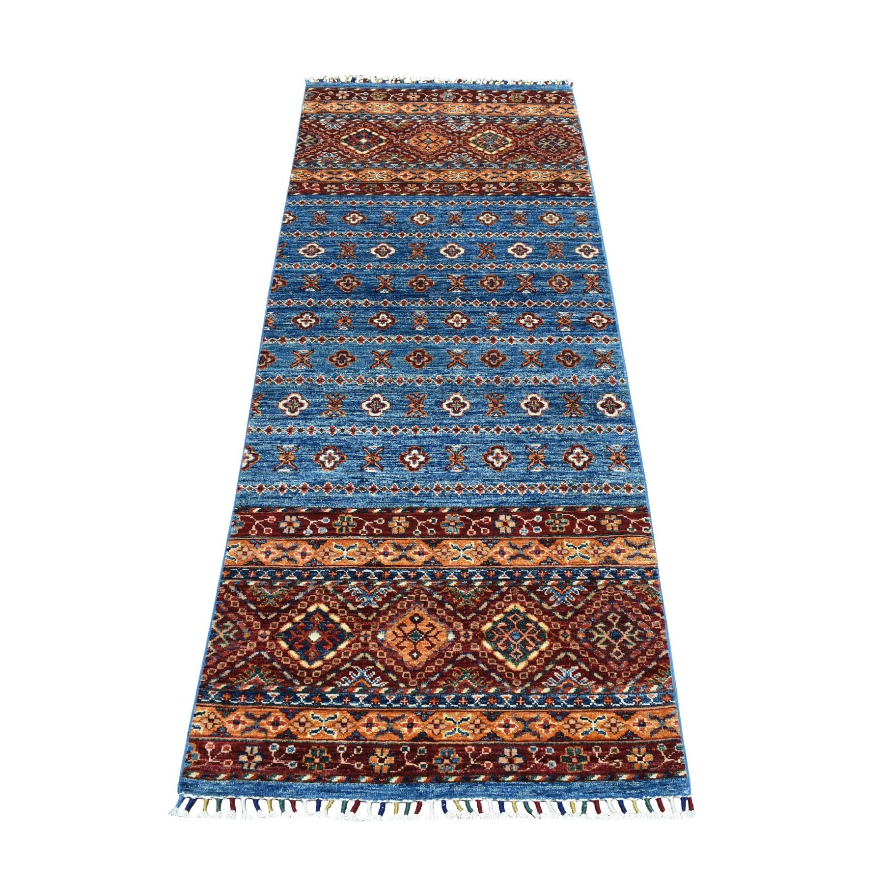"""6'7""""X2'5"""" Khorjin Design Runner Blue Super Kazak Geometric Pure Wool Hand Knotted Oriental Rug moaeb8d7"""