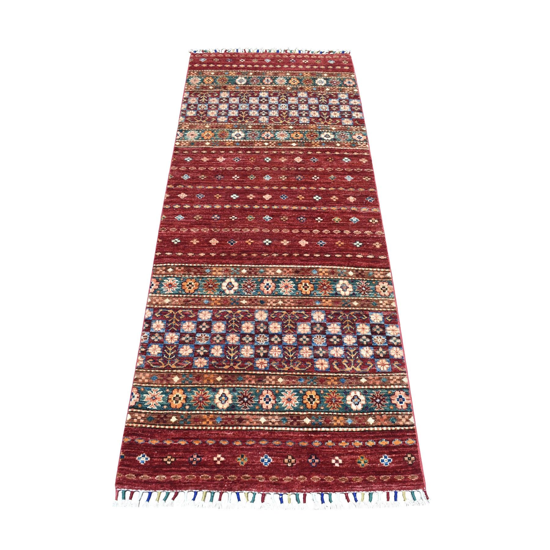 "2'6""X6'6"" Khorjin Design Runner Red Super Kazak Geometric Pure Wool Hand Knotted Oriental Rug moaeb8d8"