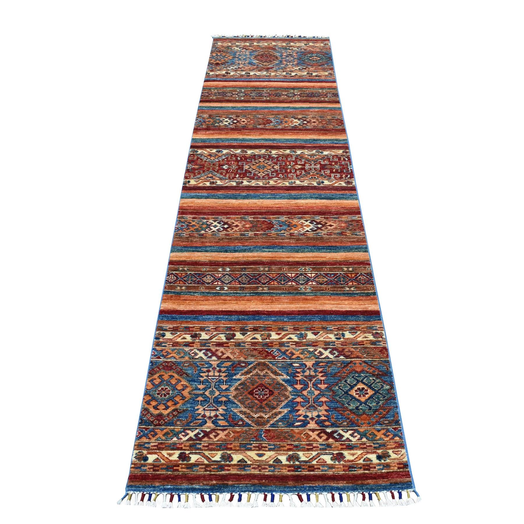 """2'3""""X10' Khorjin Design Runner Blue Super Kazak Tribal Hand Knotted Pure Wool Oriental Rug moaeb8d9"""