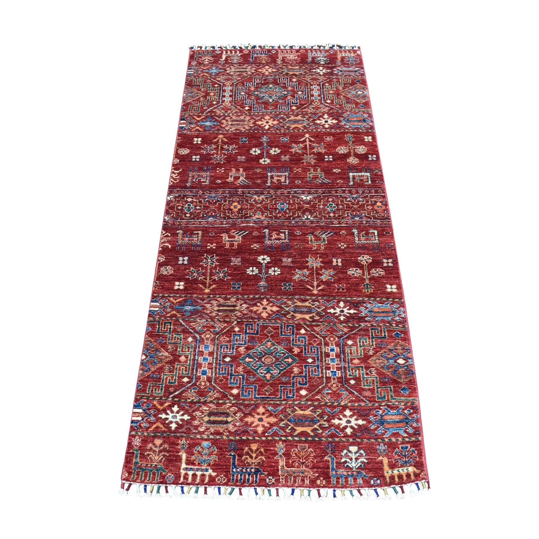 "2'6""X6'5"" Khorjin Design Runner Red Super Kazak Pictorial Hand Knotted 100% Wool Oriental Rug moaeb8e0"