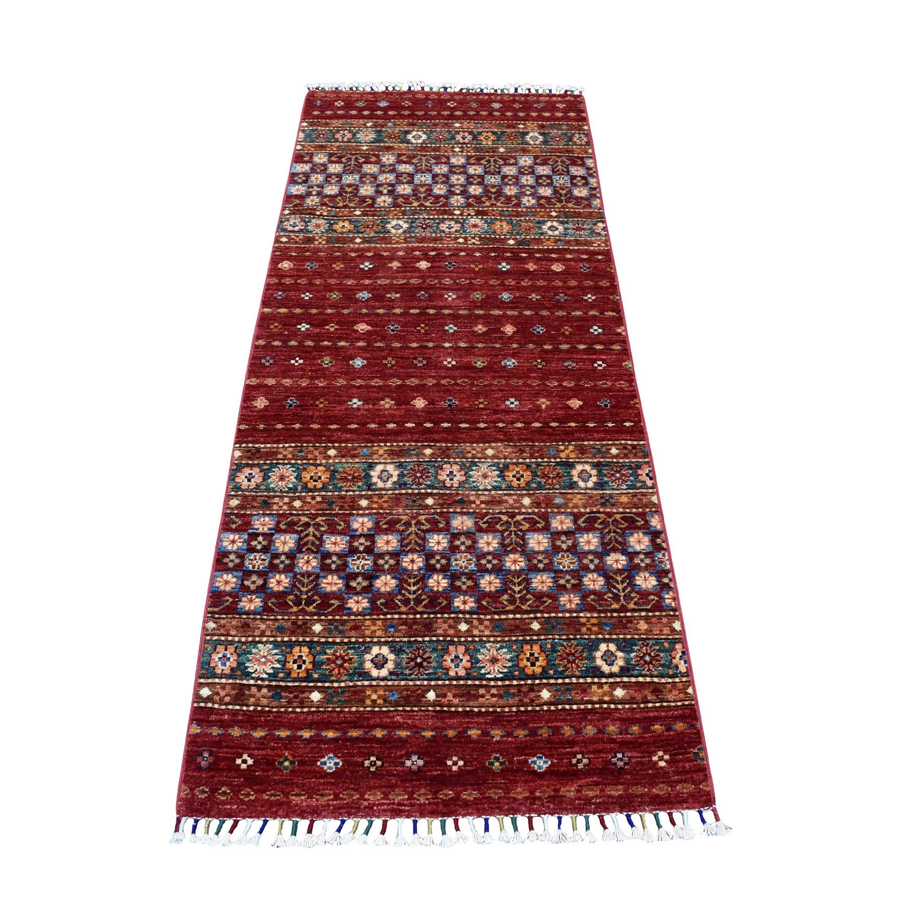 "2'7""X6'6"" Khorjin Design Runner Red Super Kazak Geometric Pure Wool Hand Knotted Oriental Rug moaeb8ec"