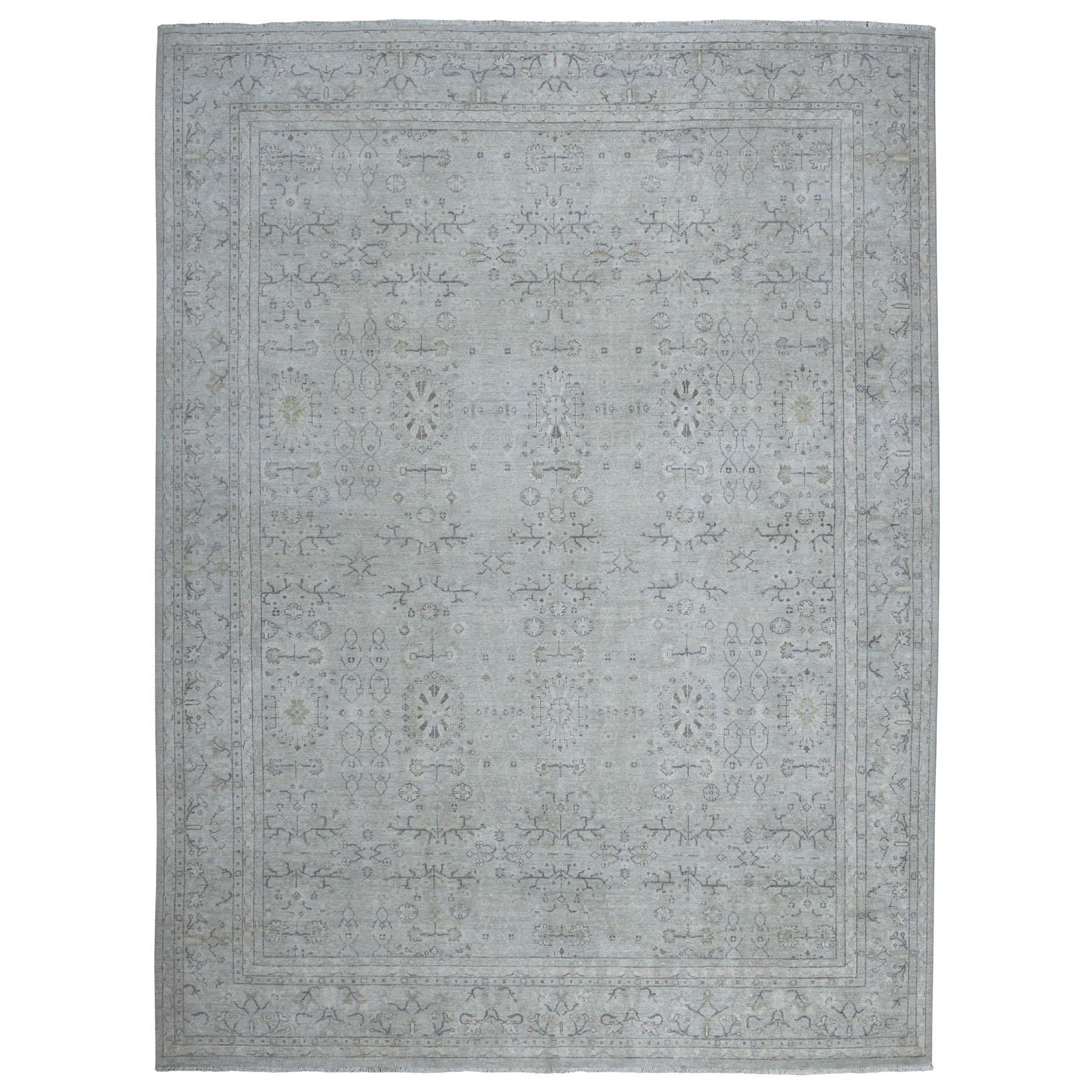 "8'9""X11'2"" White Wash Peshawar Pure Wool Hand Knotted Oriental Rug moaeb8ed"
