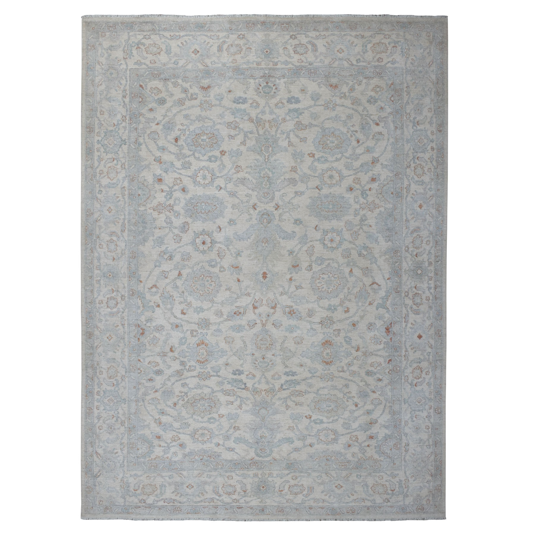 """8'9""""X12' White Wash Peshawar Pure Wool Hand Knotted Oriental Rug moaeb8ee"""