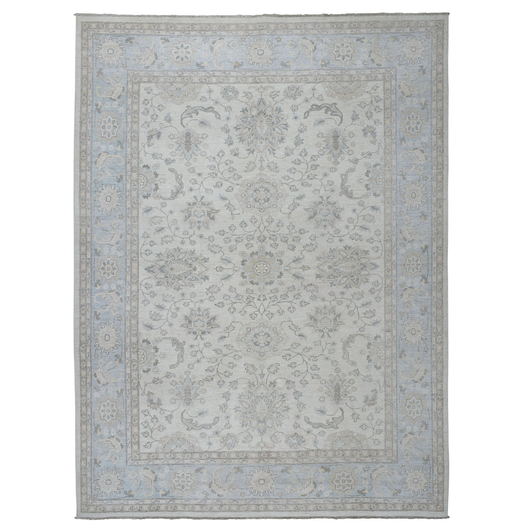 "8'10""X12' White Wash Peshawar Pure Wool Hand Knotted Oriental Rug moaeb8e6"